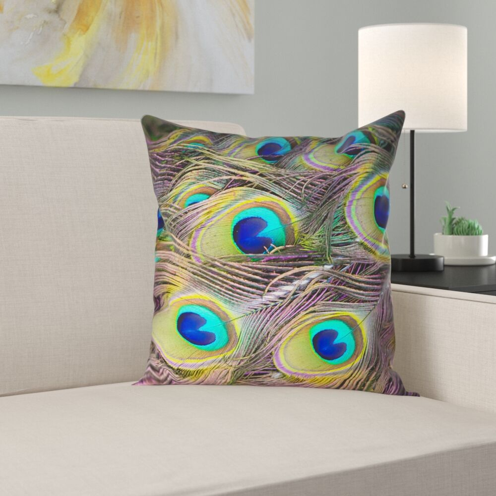 Brumit Peacock Feathers�Double Sided Throw Pillow Size: 20