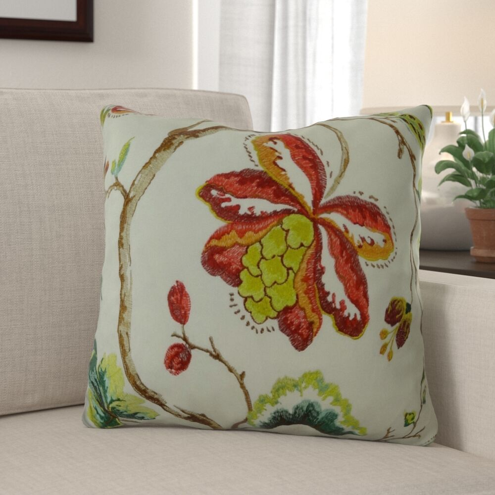 Dennett Floral Embroide Pillow Fill Material: Cover Only - No Insert, Size: 24