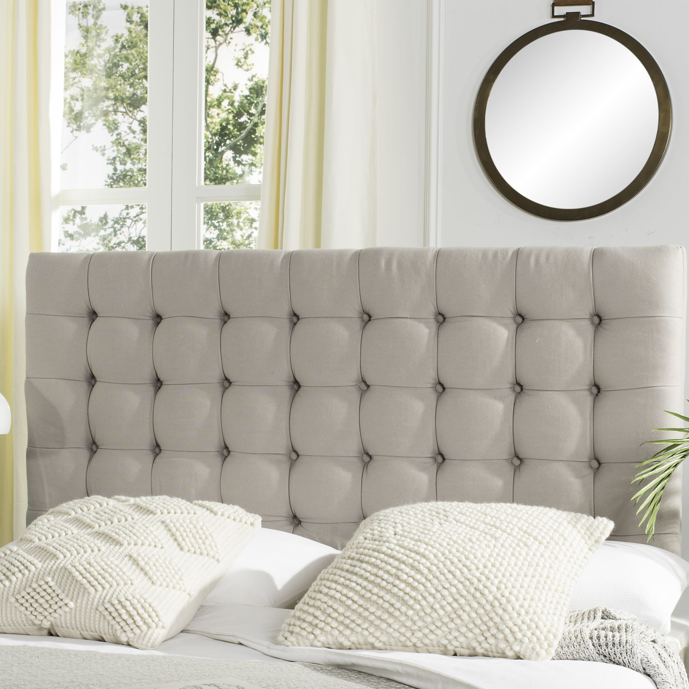 Fitch Upholstered Panel Headboard Upholstery: Linen Taupe, Size: King