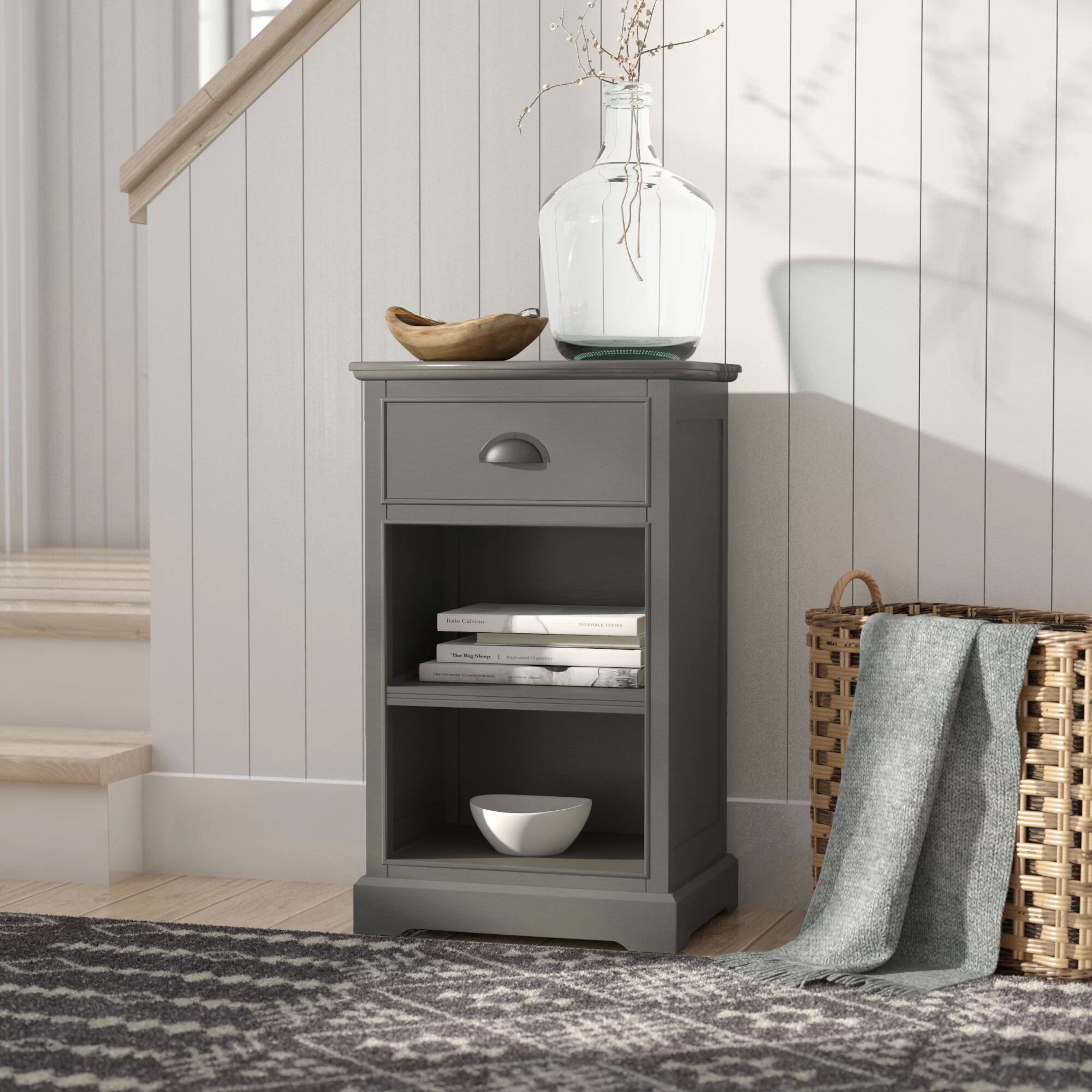 Lohan End Table With Storage Color: Grey