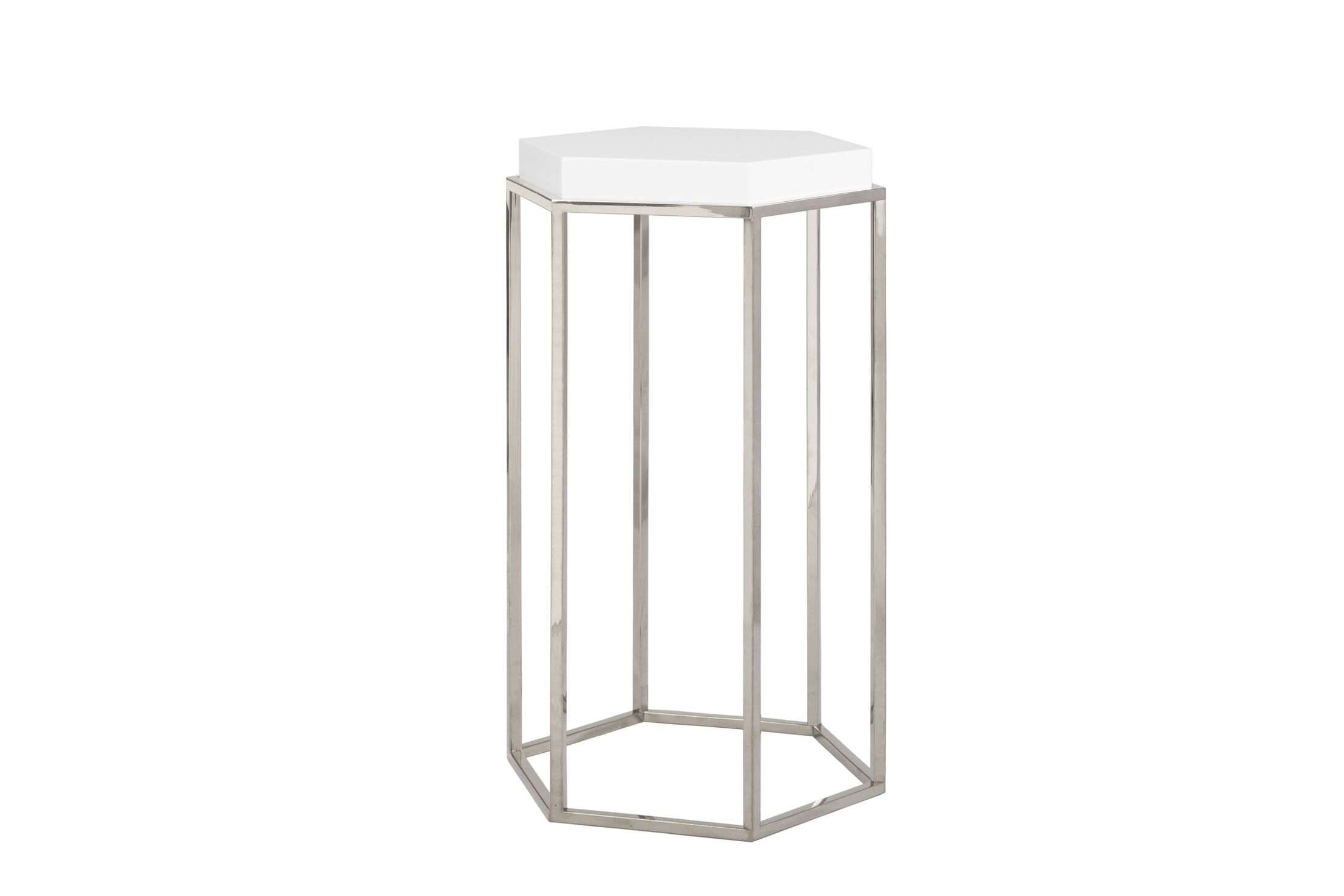 Elsa Occasional Table Color: White Lacquer/Nickel