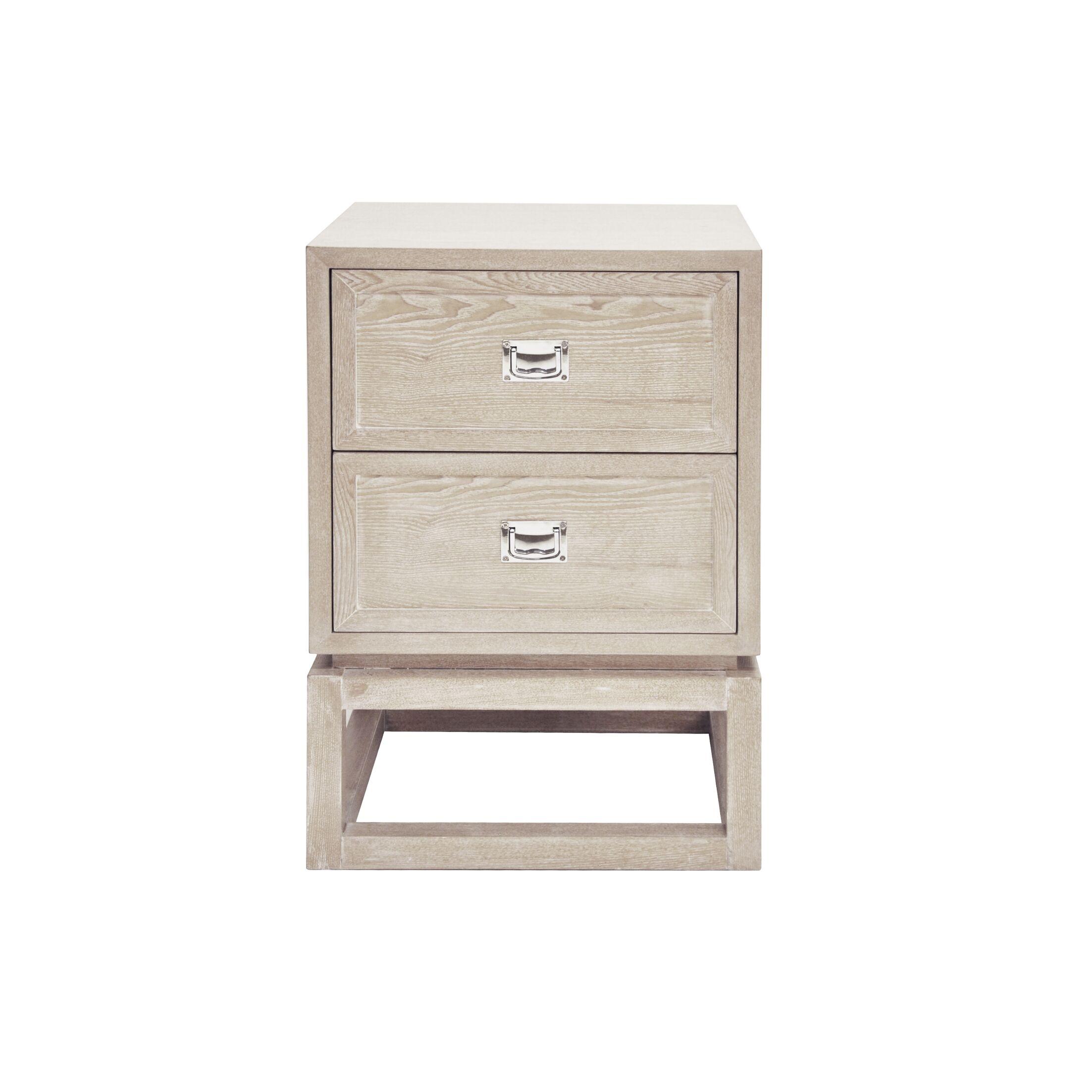 2 Drawer End Table Color: Cerused Oak