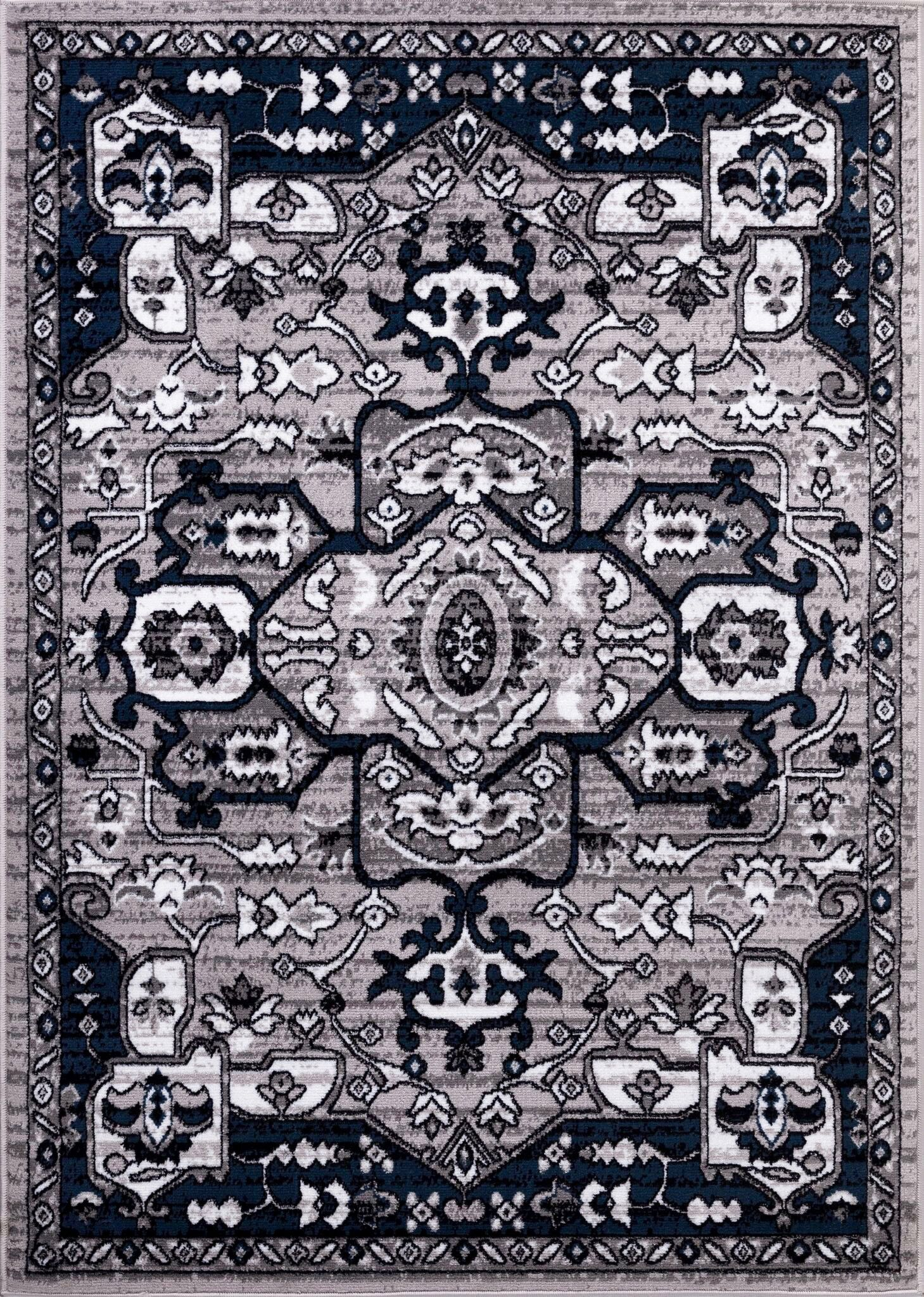 Gibraltar Gray/Black Area Rug Rug Size: Rectangle 8' x 10'