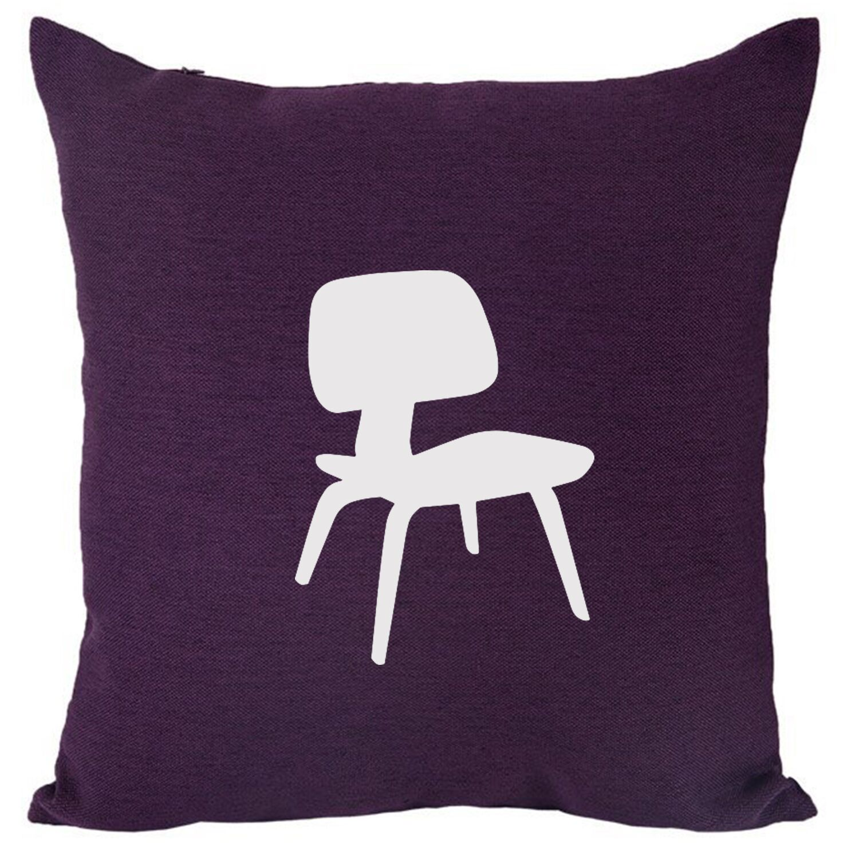 Larmon Midcentury Chair Throw Pillow Color: Purple/White