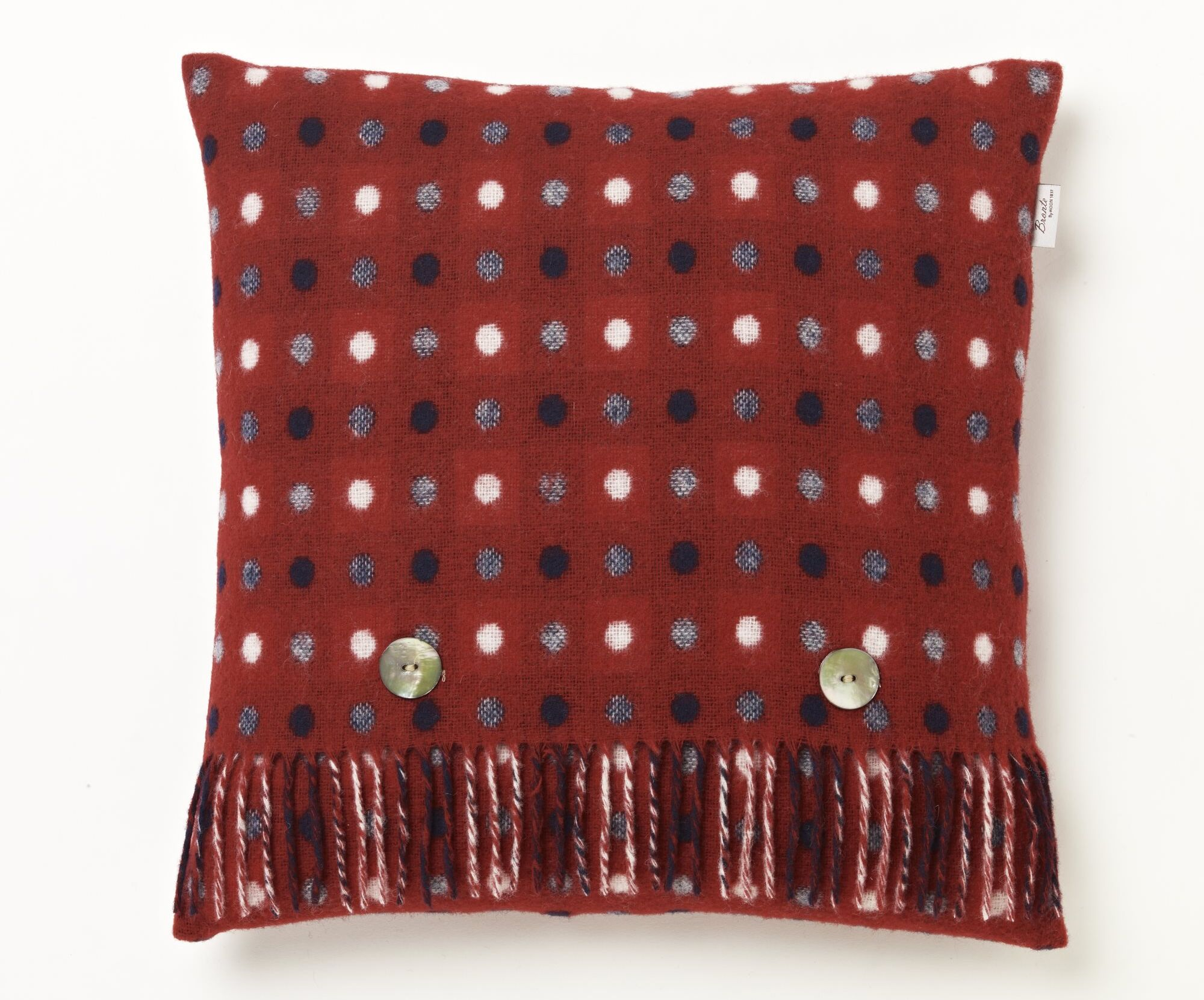 Goodyear Merino Multispot Wool Throw Pillow Color: Red