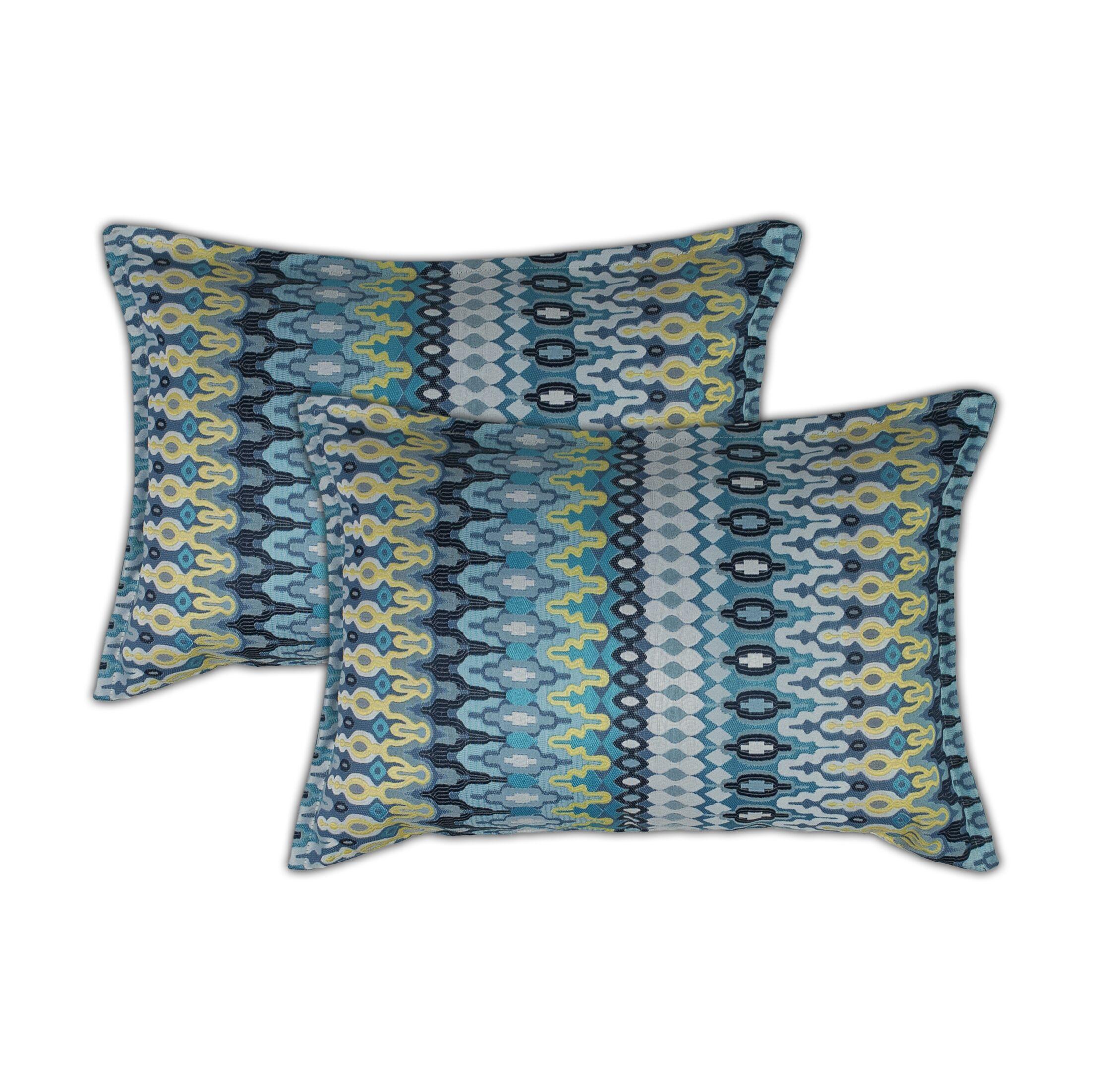 Aurora Lumbar Pillow Color: Blue/Yellow