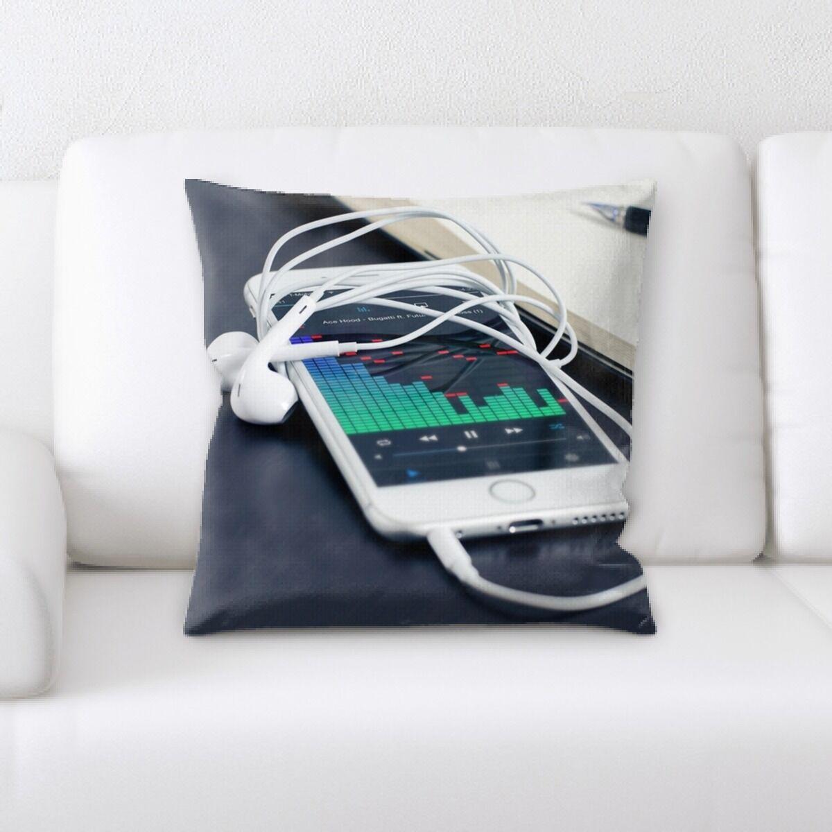 Monk Headphone Throw Pillow