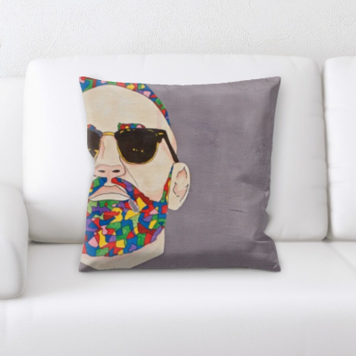 Woen Man with Sun Glasses Throw Pillow