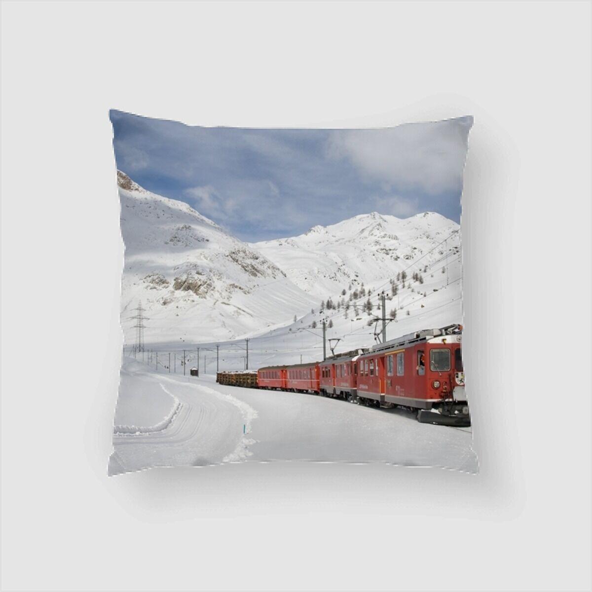 Lam Train in Snow (1) Throw Pillow