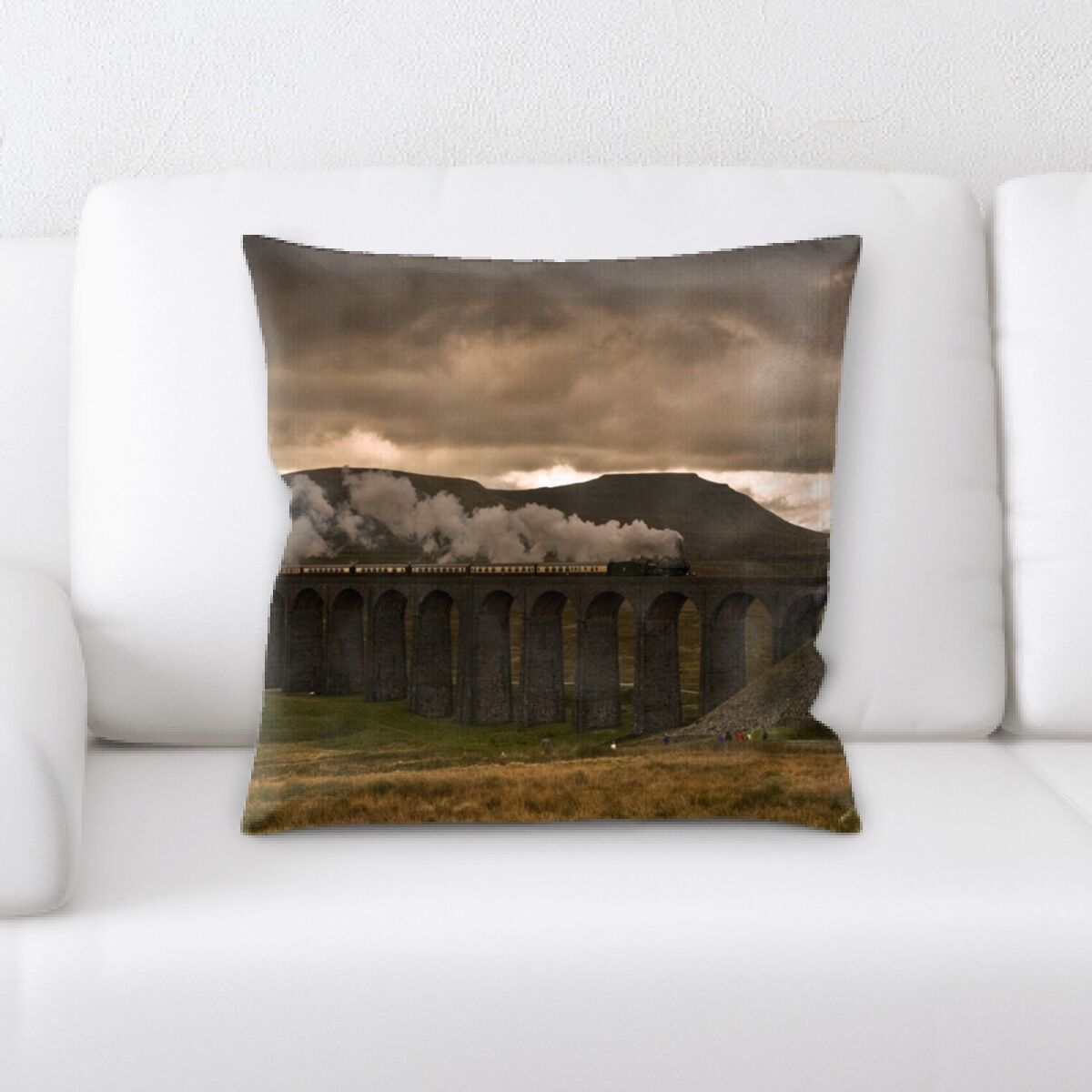 Lam Train on a Bridge Throw Pillow