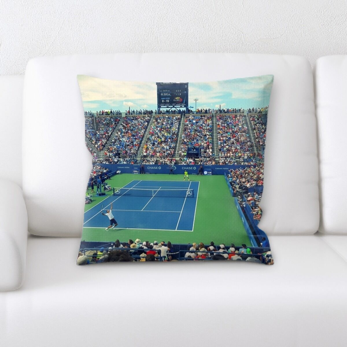 Pond Tennis Court (1) Throw Pillow