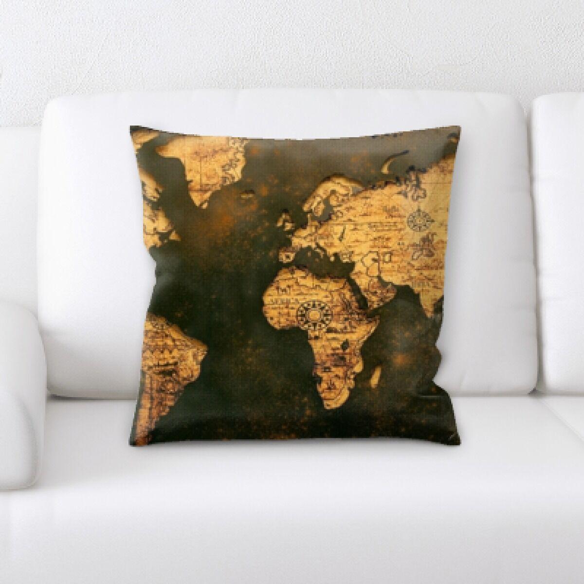 Jamya Map Throw Pillow