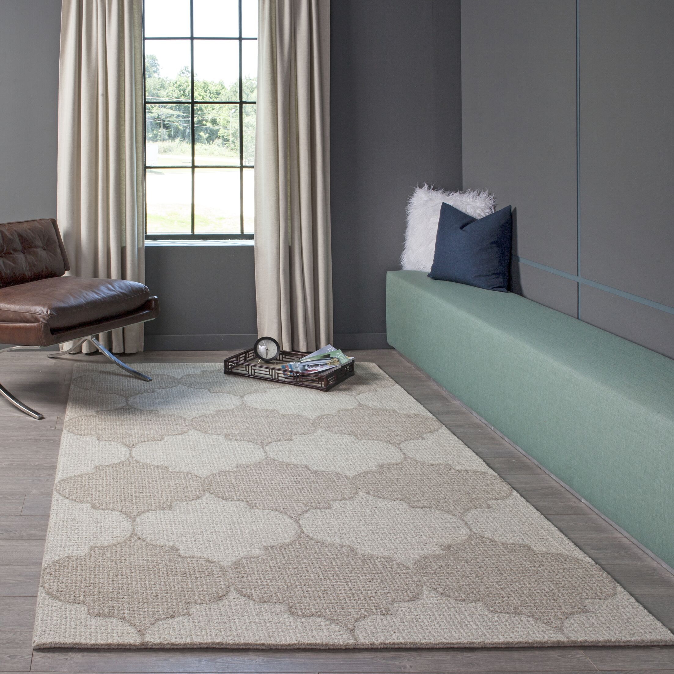 McCollum Hand-Tufted Wool Beige Area Rug Rug Size: Rectangle 3'6