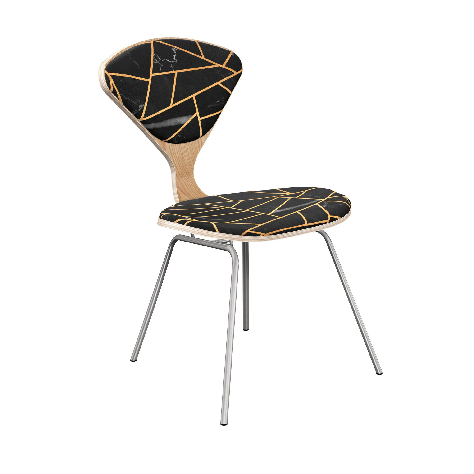 Oisin Upholstered Dining Chair Frame Color: Natural, Leg Color: Chrome
