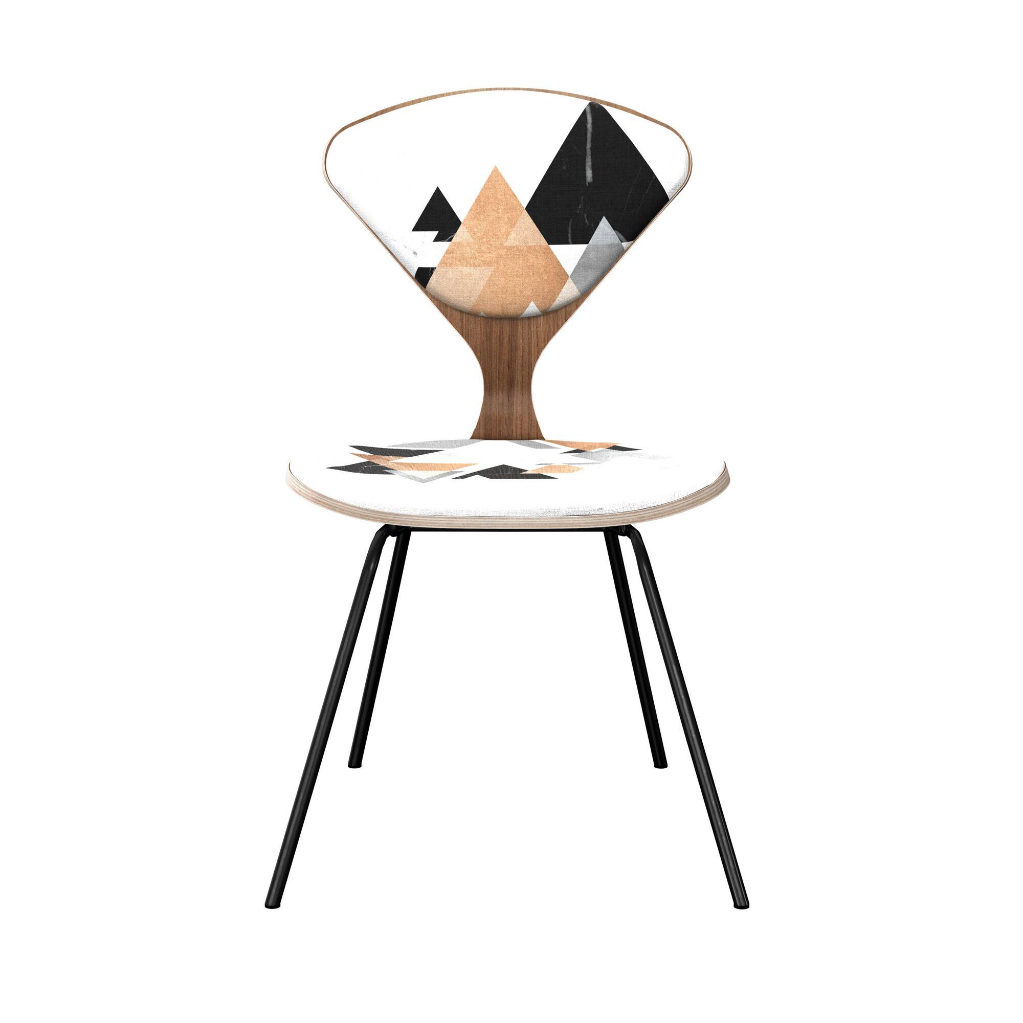 Farah Upholstered Dining Chair Leg Color: Black, Frame Color: Walnut