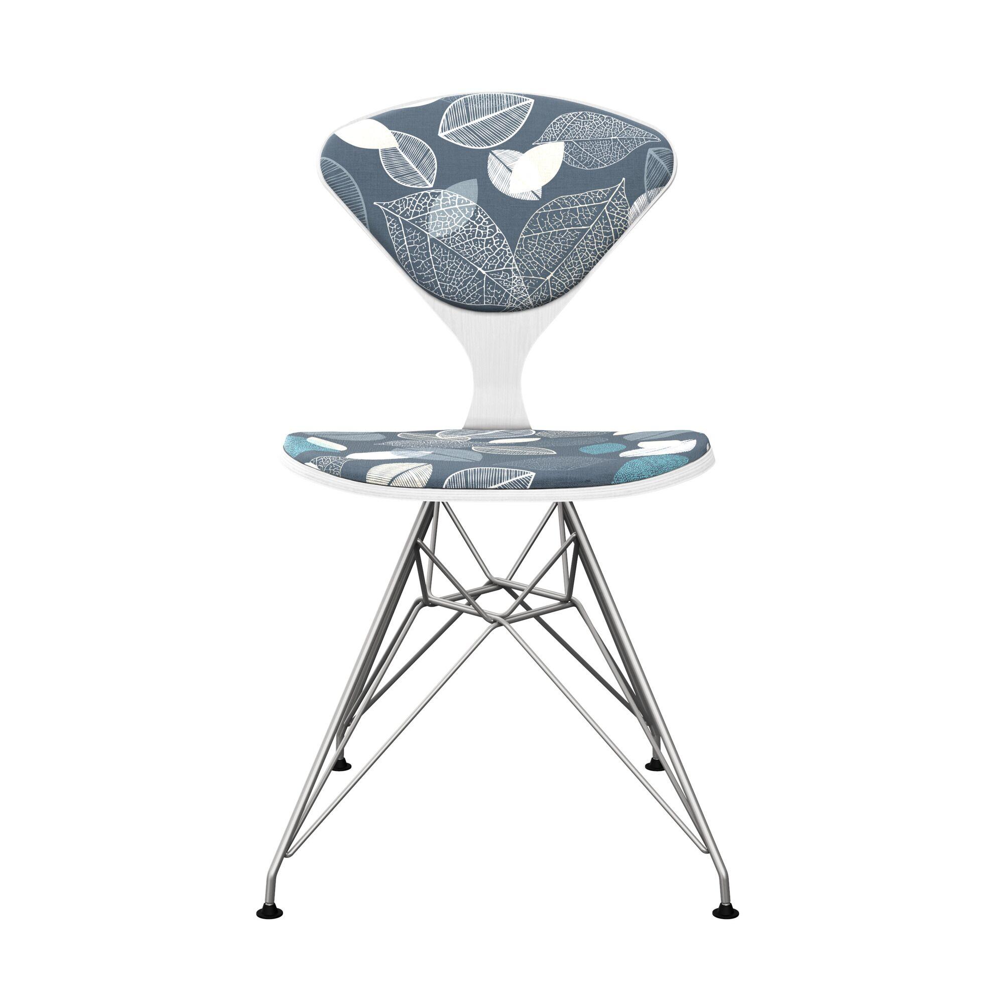 Vesper Upholstered Dining Chair Leg Color: Chrome, Frame Color: White
