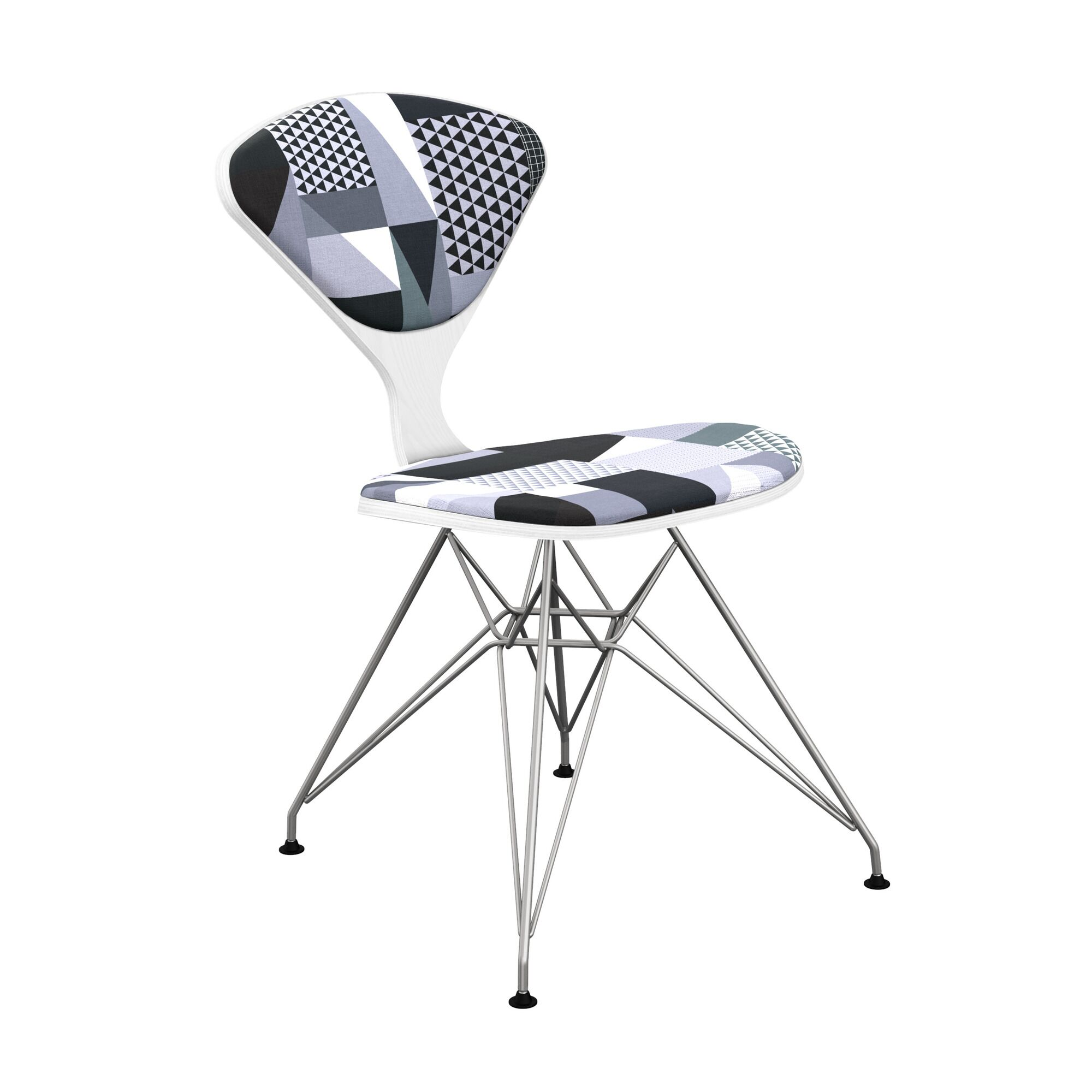 Sapphire Upholstered Dining Chair Leg Color: Chrome, Frame Color: White