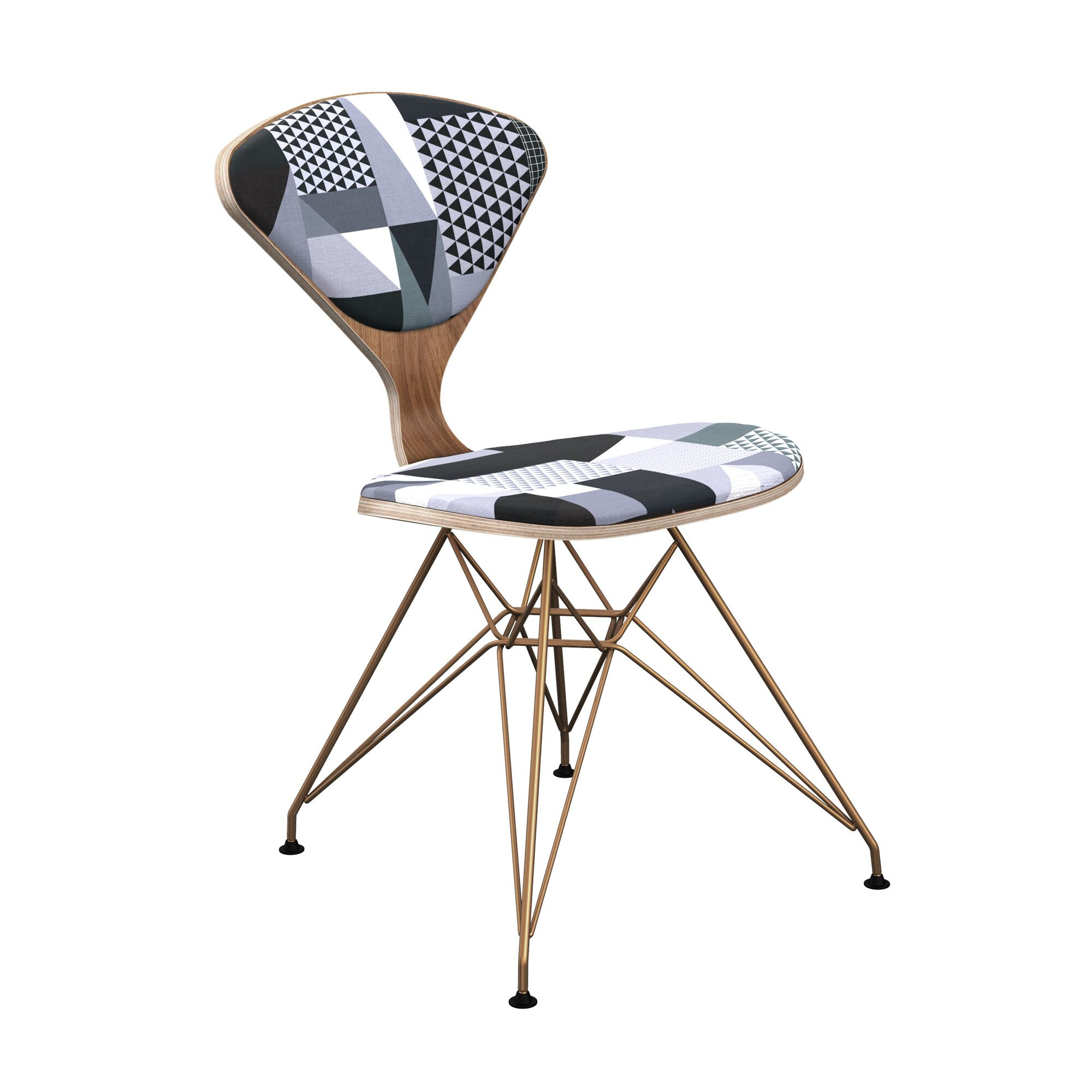 Sapphire Upholstered Dining Chair Leg Color: Brass, Frame Color: Walnut