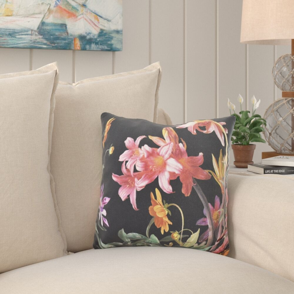 Stamant Floral Outdoor Throw Pillow Color: Black, Size: 18