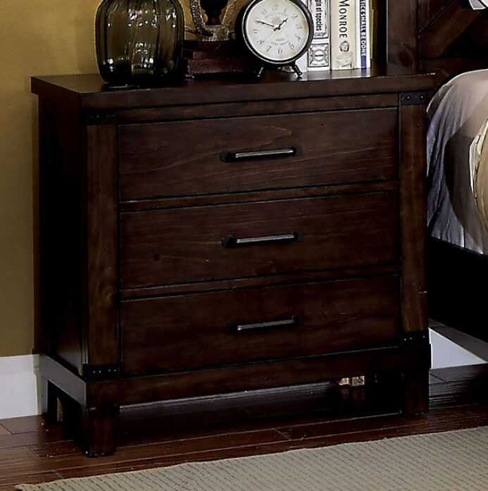 Ashly 3 Drawer Nightstand Color: Dark Walnut