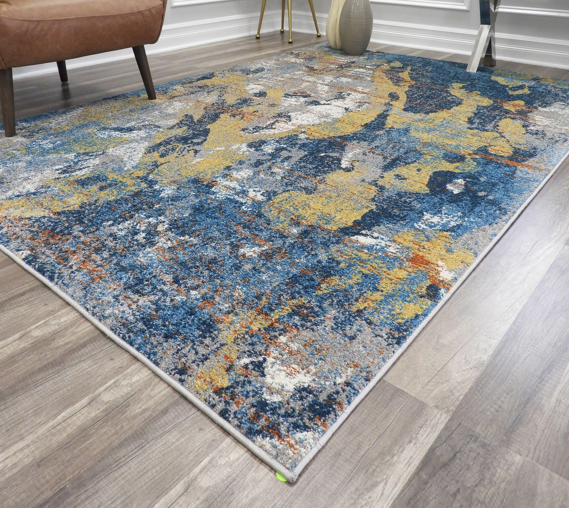 Amelie Gray/Blue Area Rug Rug Size: Rectangle 5'1