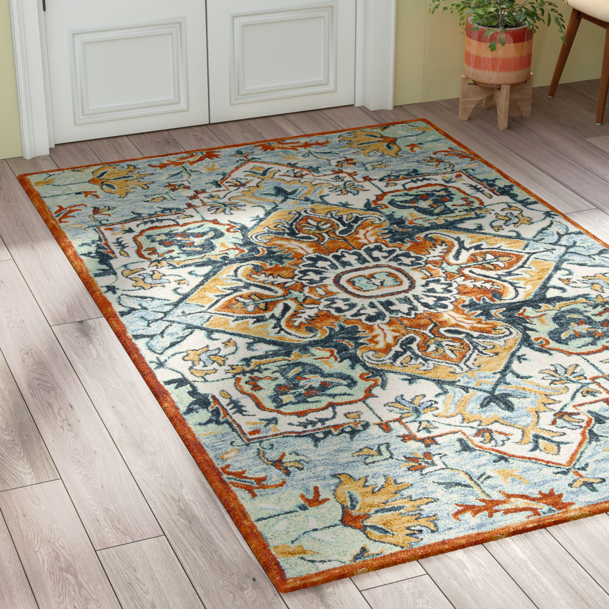 Chancellor Hand-Tufted Wool Blue/Rust Area Rug Rug Size: Rectangle 3' x 5'