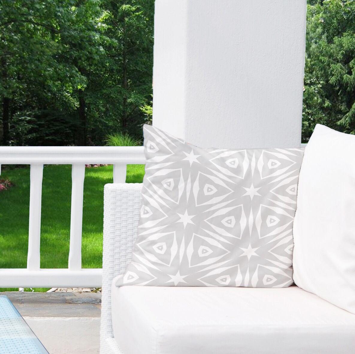 Hylton Black White Indoor/Outdoor Throw Pillow Size: 18
