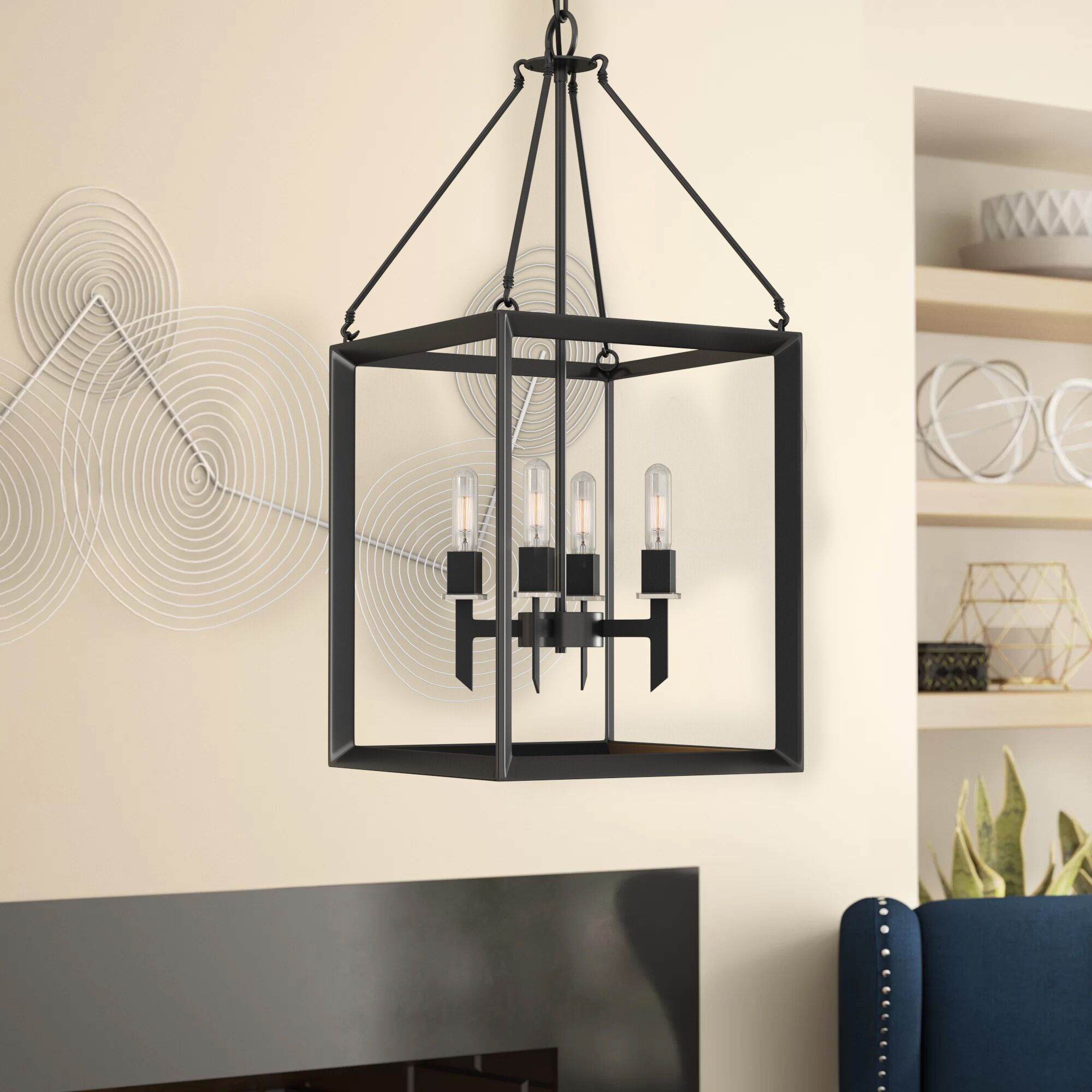 Haught 4-Light Lantern Pendant Finish: Matte Black