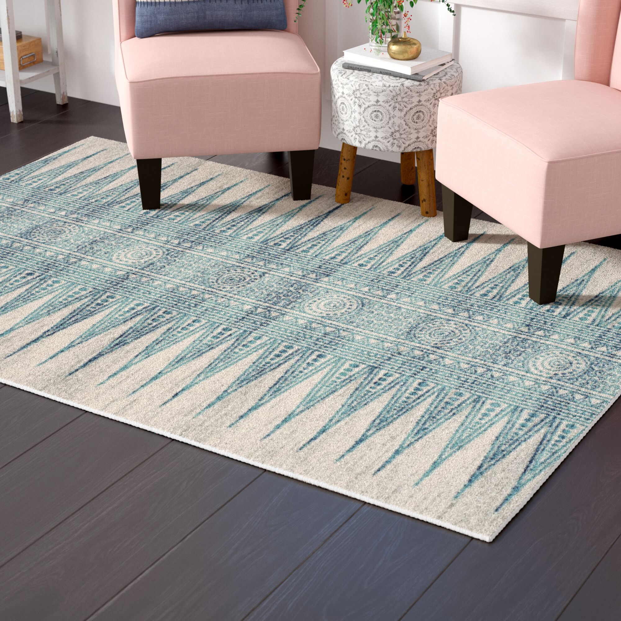 Elson Turquoise/Ivory Area Rug Rug Size: Rectangle 5'1