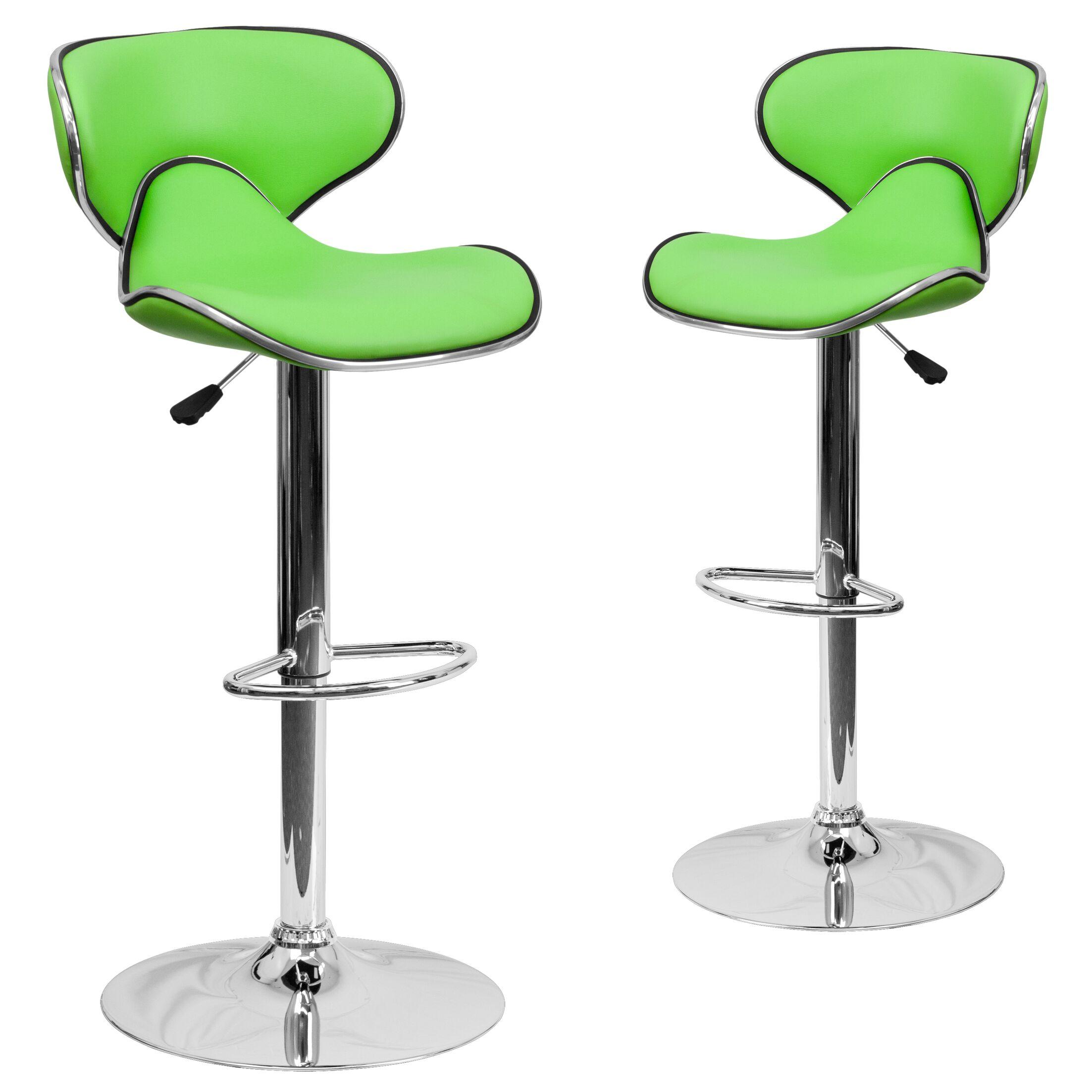 Preston Adjustable Height Swivel Bar Stool Upholstery: Green