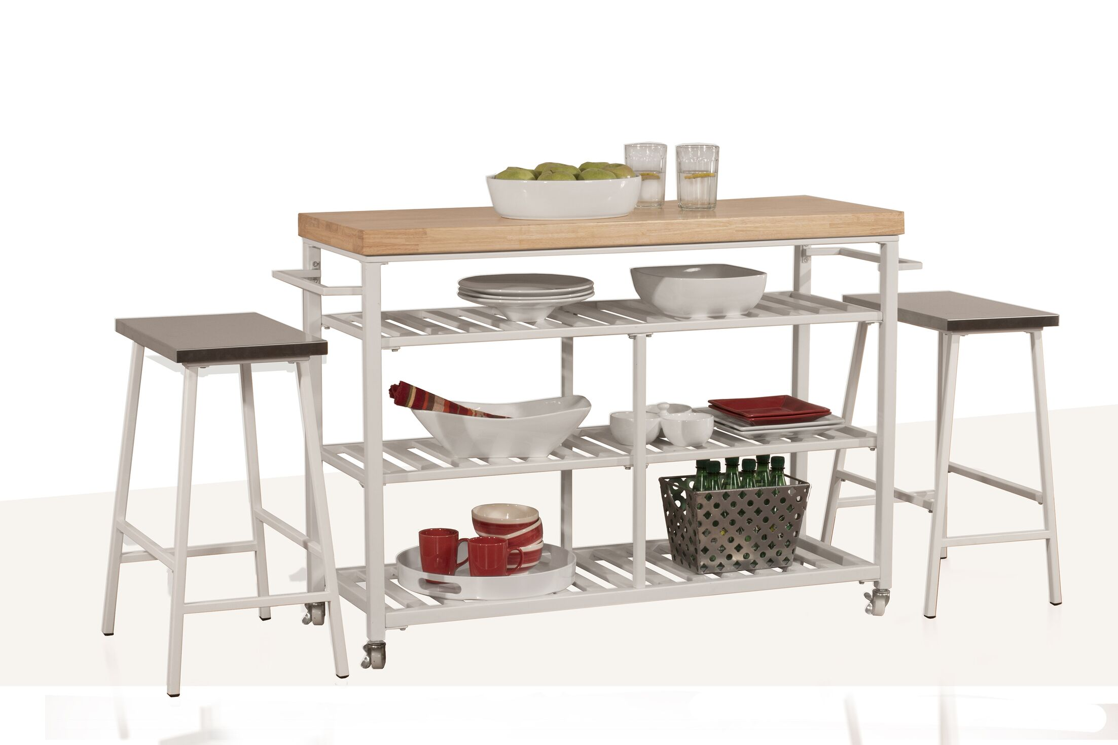 Geary Kitchen Island Set with Solid Wood Top