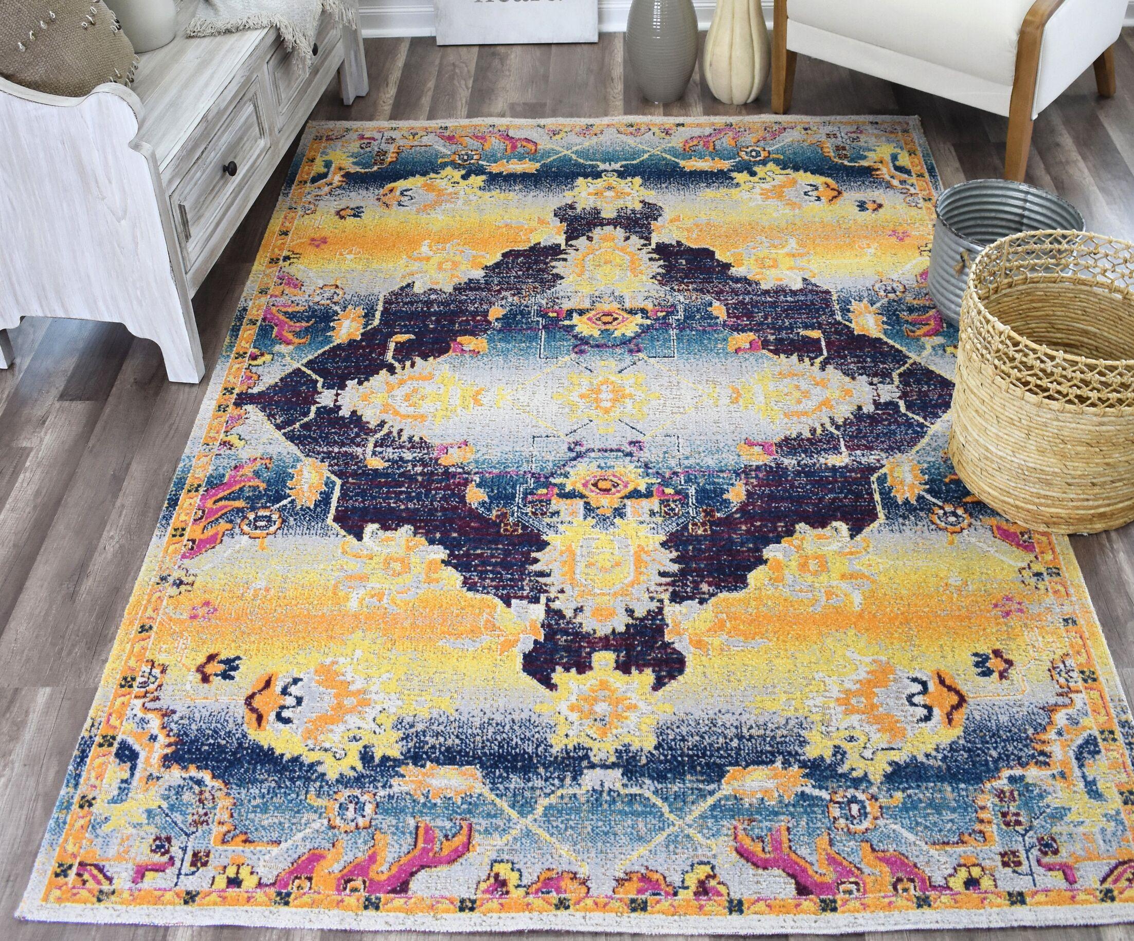 Julianna Gold/Blue Indoor/Outdoor Area Rug Rug Size: Rectangle 5' x 7'