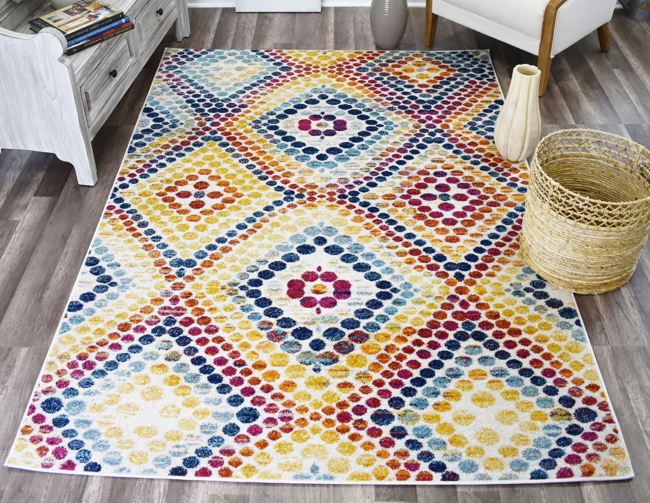 Michaela Dot Yellow/Blue Area Rug Rug Size: Rectangle 8' x 10'