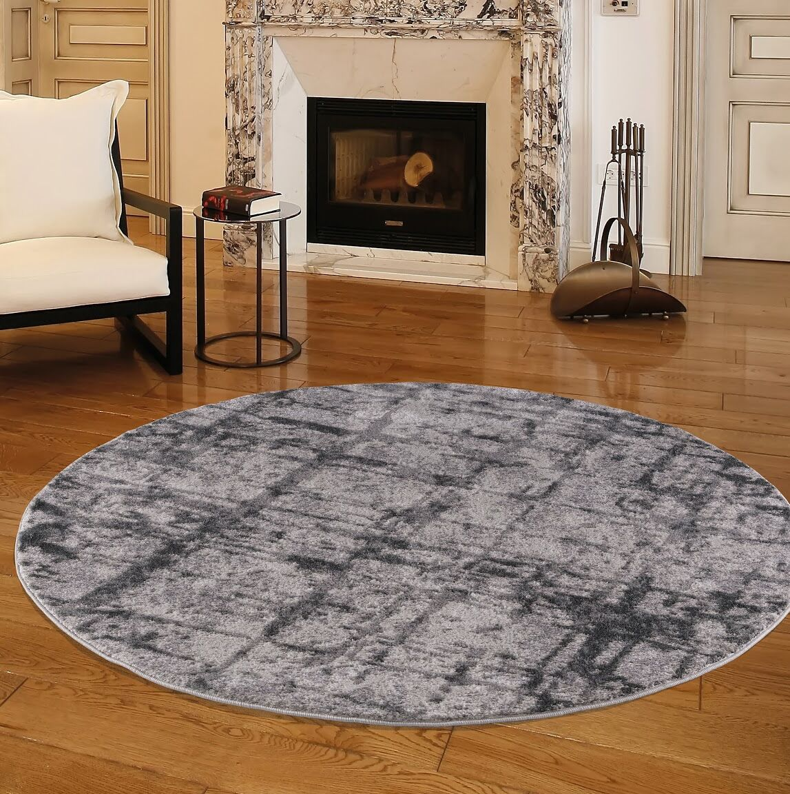 Nickols Gray Area Rug Rug Size: Round 5'2