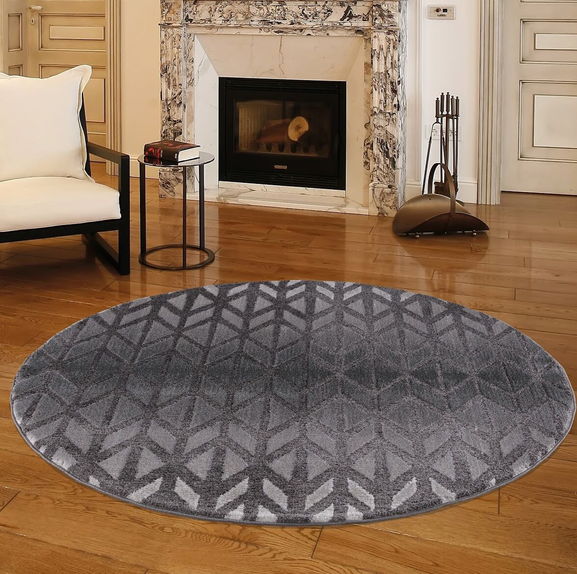 Nickols Charcoal Area Rug Rug Size: Round 5'2