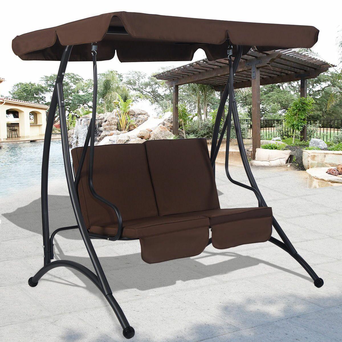 Reagle 2 Person Porch Swing Canopy Fabric: Brown