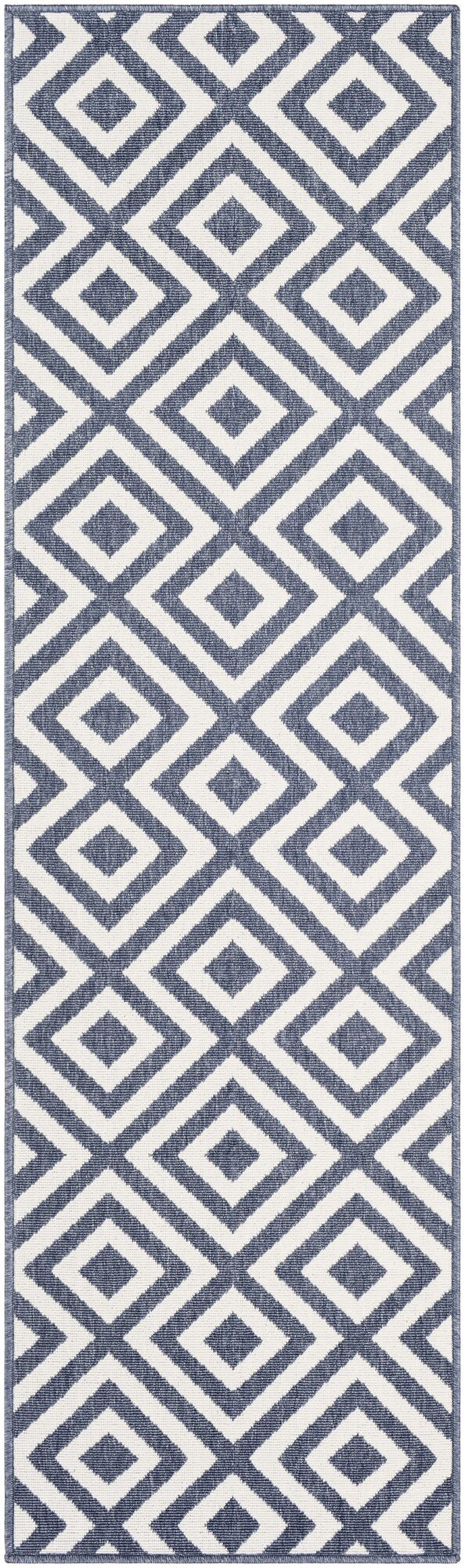 Idabel Geometric Blue Indoor/Outdoor Area Rug Rug Size: Runner 2'3