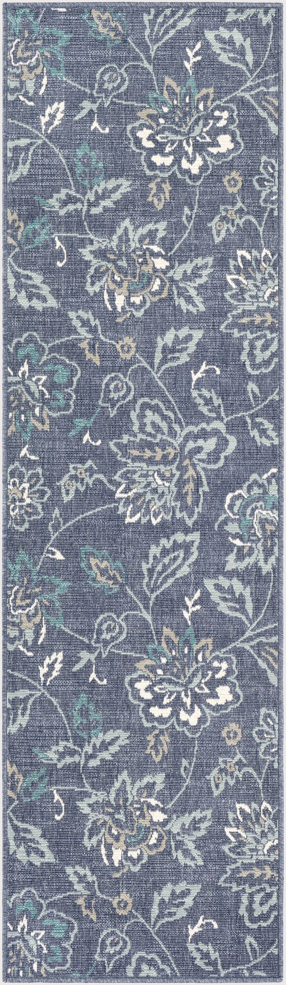 Pearce Floral Charcoal/Aqua Indoor/Outdoor Area Rug Rug Size: Runner 2'3