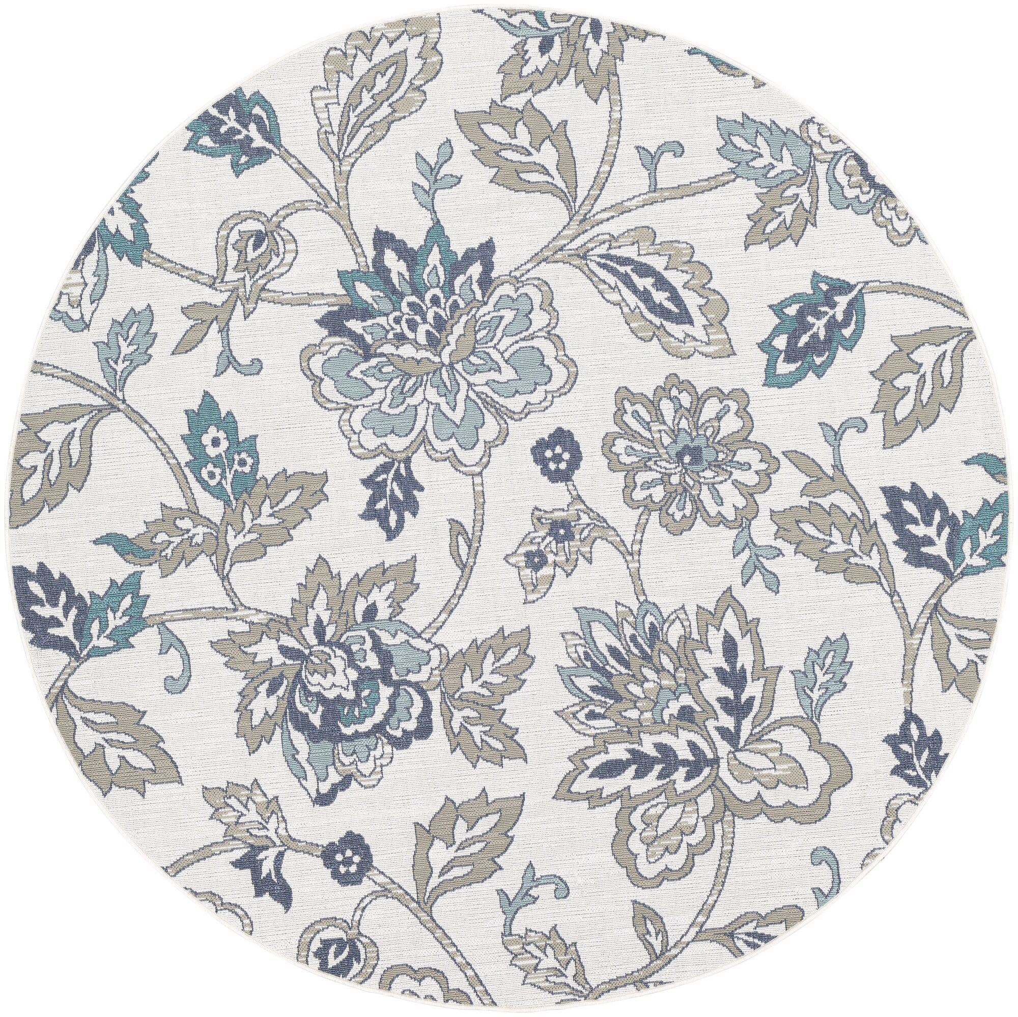 Pearce Floral Aqua/Taupe Indoor/Outdoor Area Rug Rug Size: Round 8'9