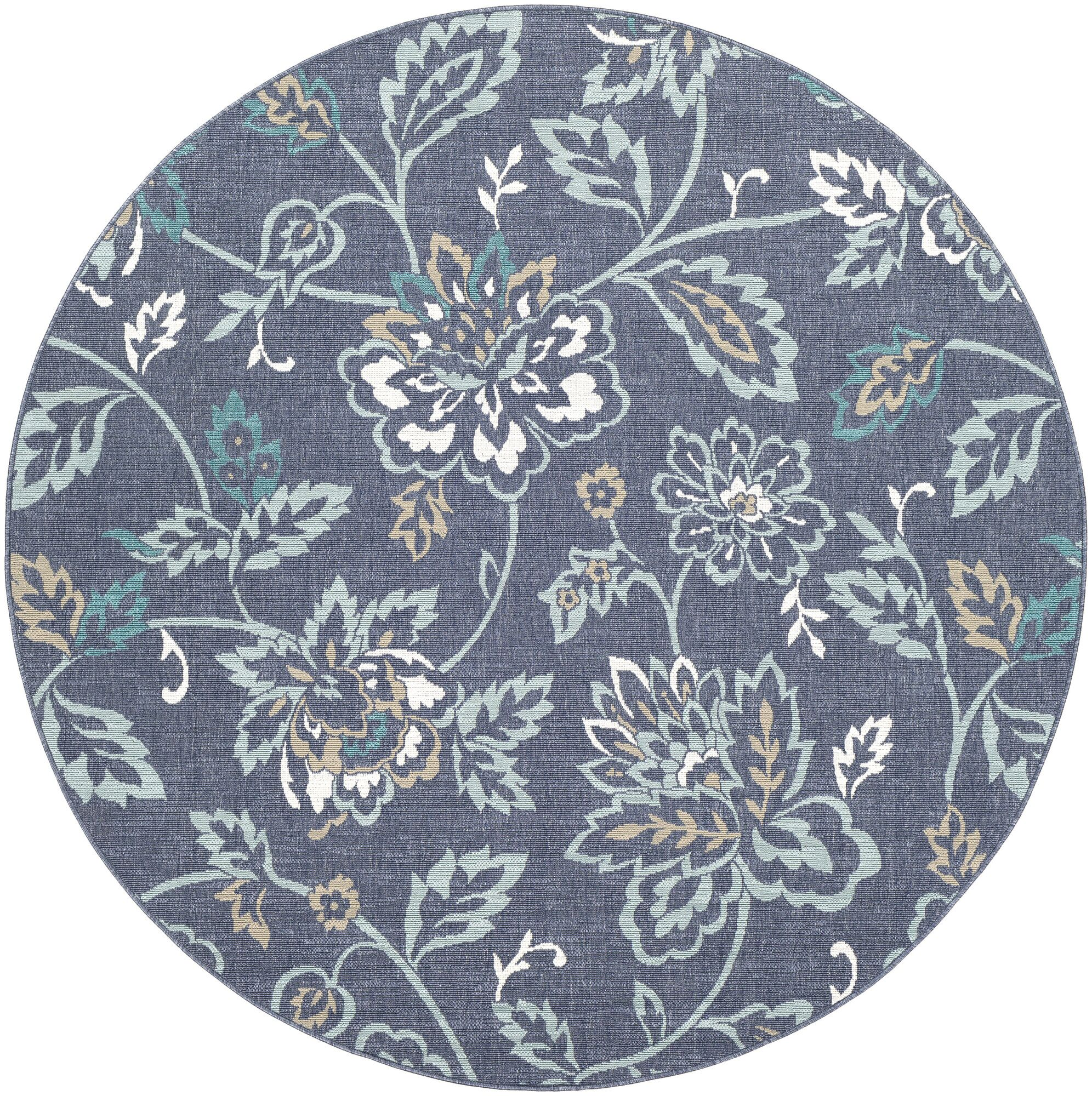Pearce Floral Charcoal/Aqua Indoor/Outdoor Area Rug Rug Size: Round 5'3