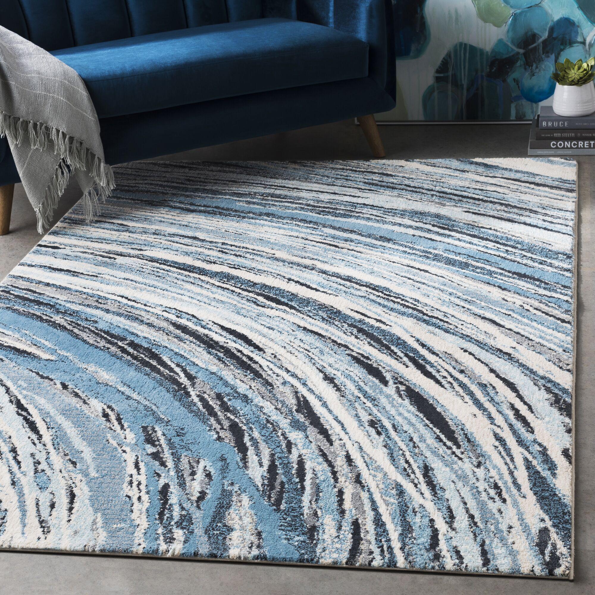 Siena Super Soft Contemporary Bright Blue/Ivory Area Rug Rug Size: Rectangle 7'6