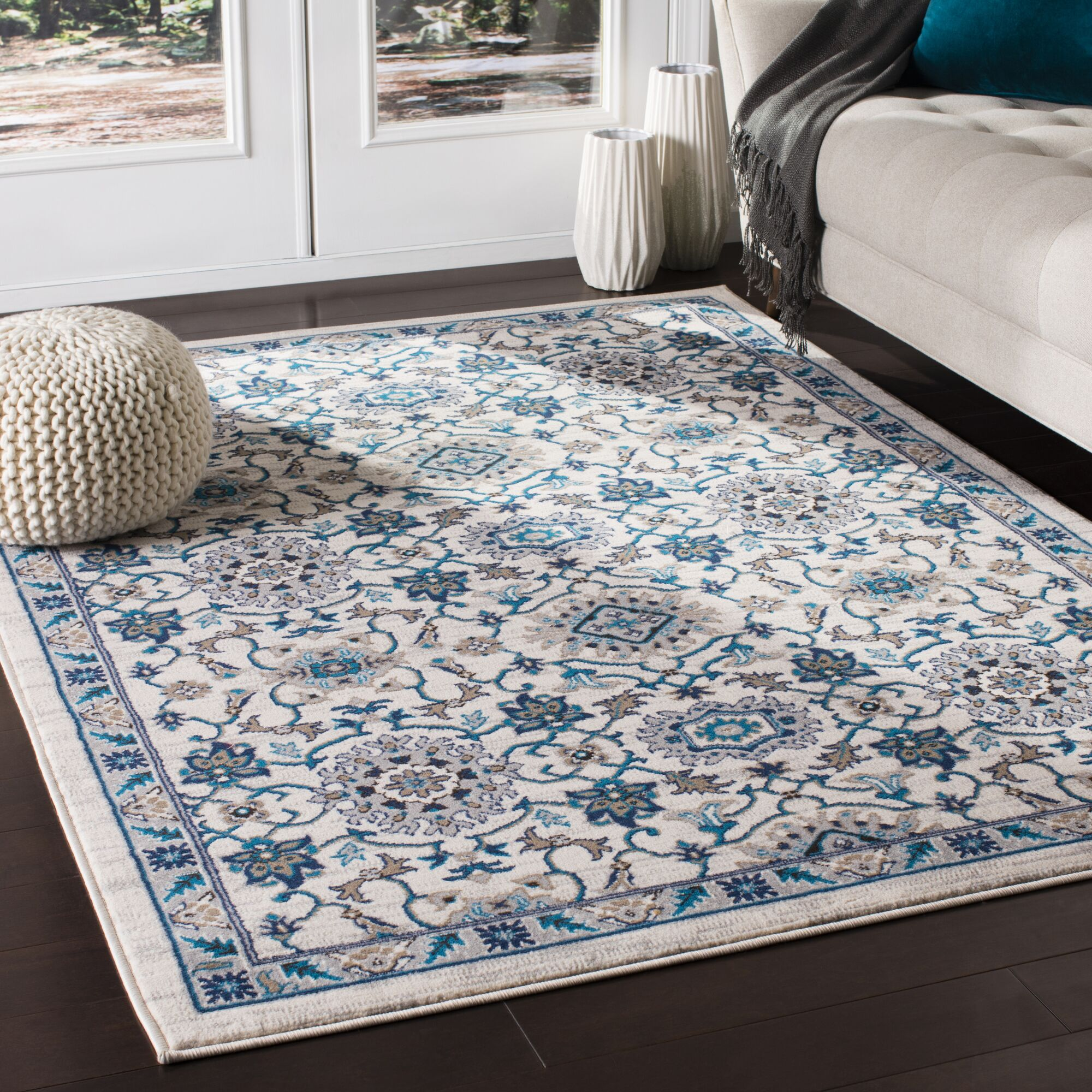 Kent Traditional Floral Taupe/Teal Area Rug Rug Size: Rectangle 7'10