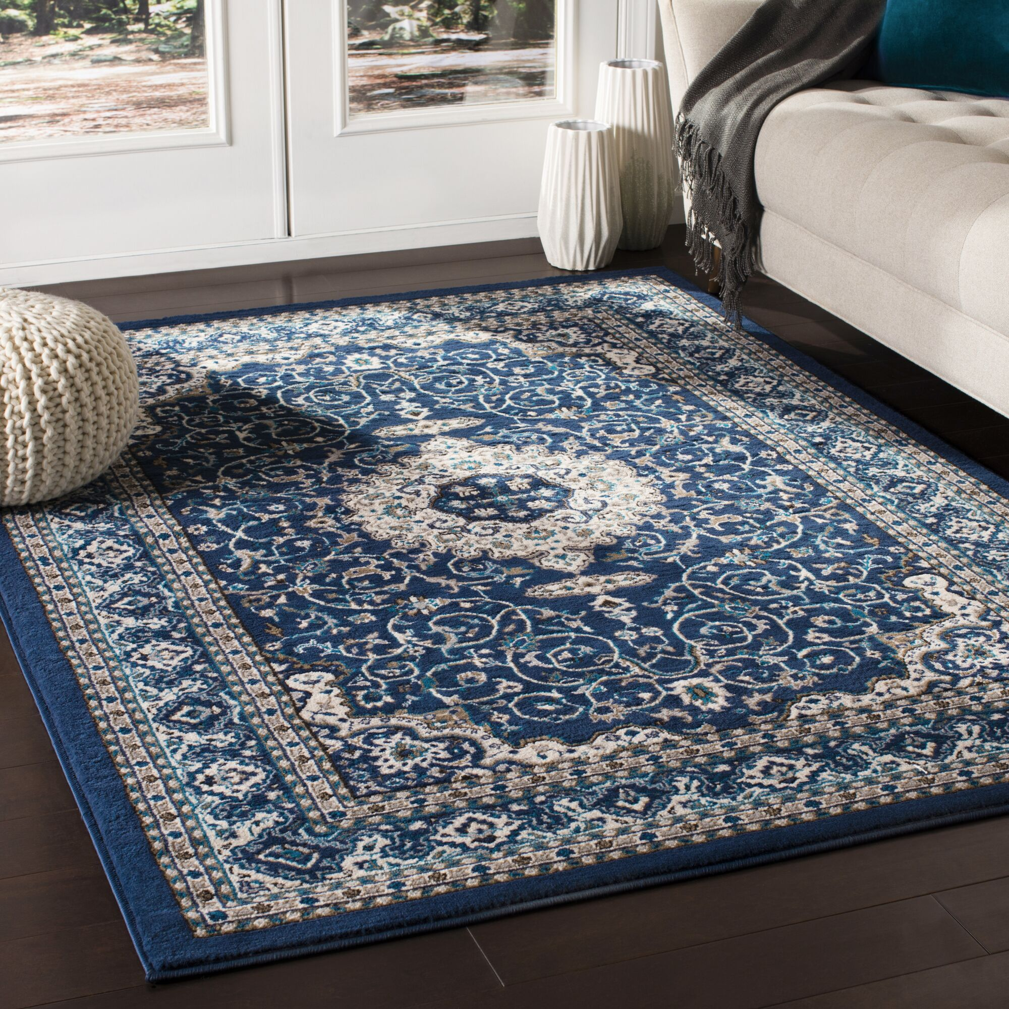 Kent Traditional Navy/Sky Blue Area Rug Rug Size: Rectangle 7'10