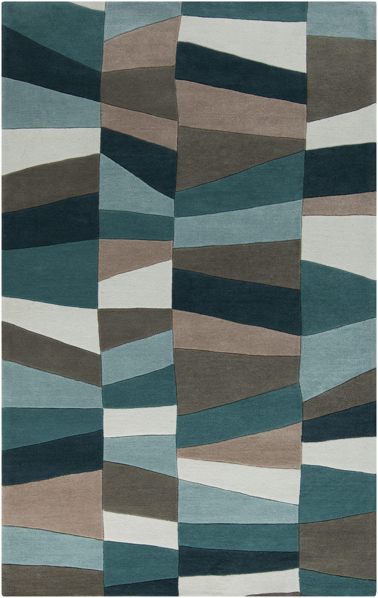 Carlotta Dried Hand-Tufted Dried Oregano/Sea blue Area Rug Rug Size: Rectangle 3'6