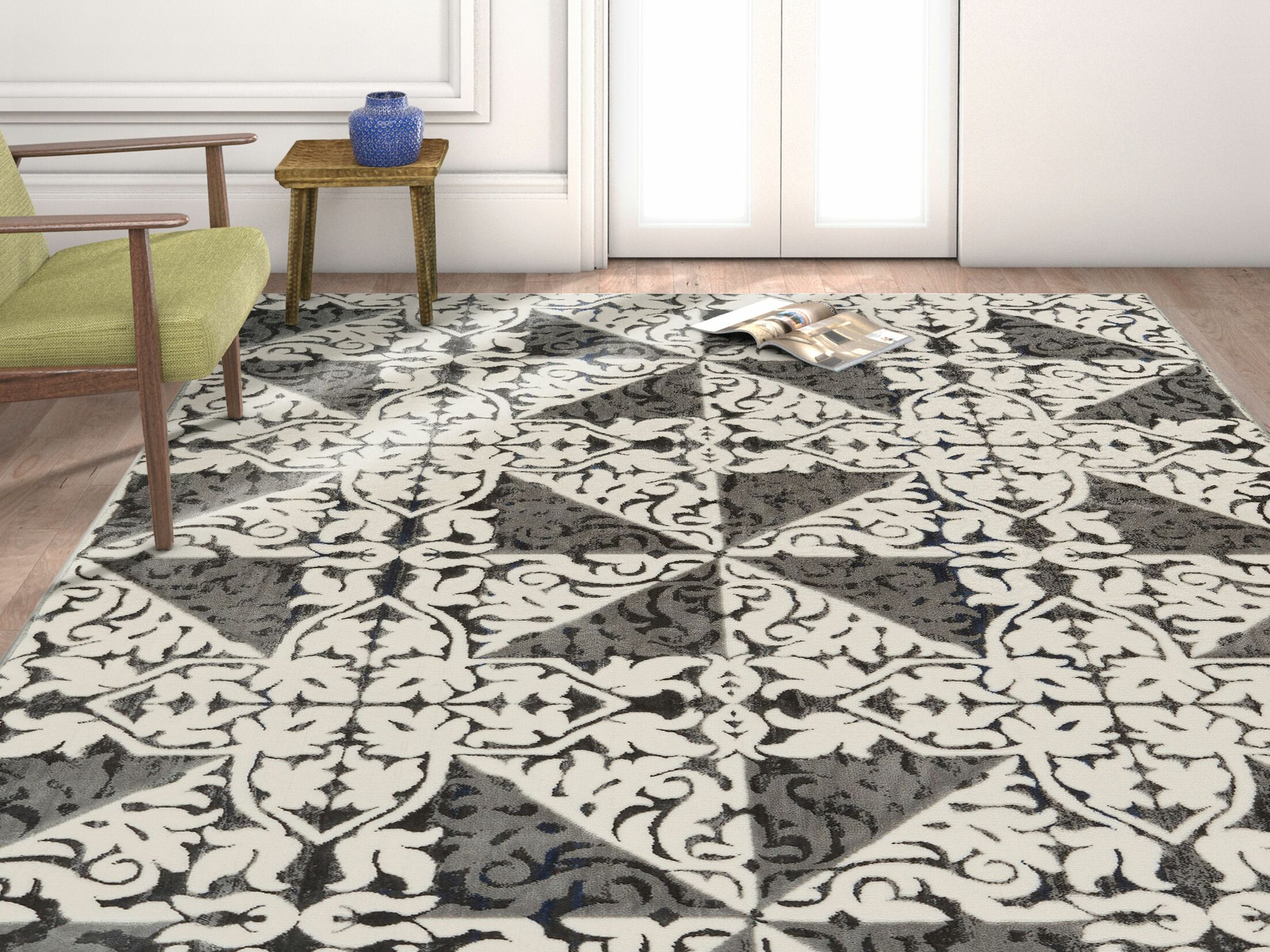 Rotella Floral Tile Gray Area Rug Rug Size: Rectangle 7'10