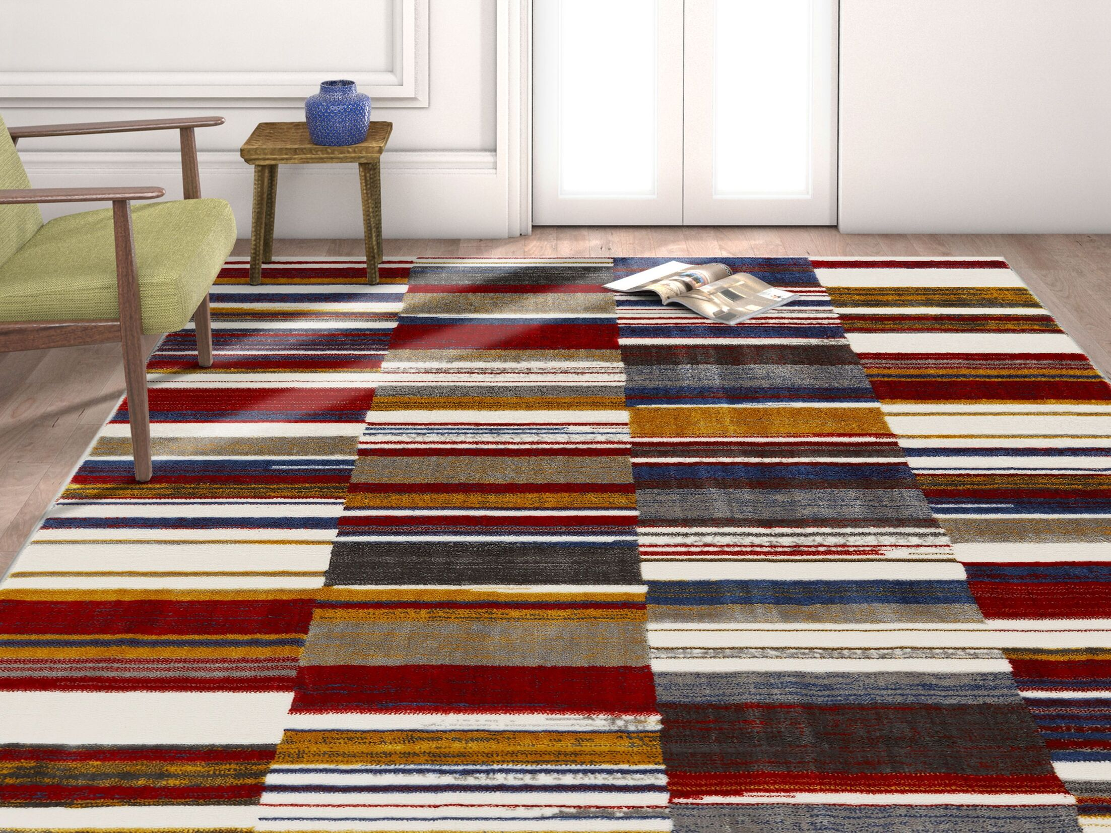 Herren Geometric Squares Red/Navy Area Rug Rug Size: Rectangle 5'3