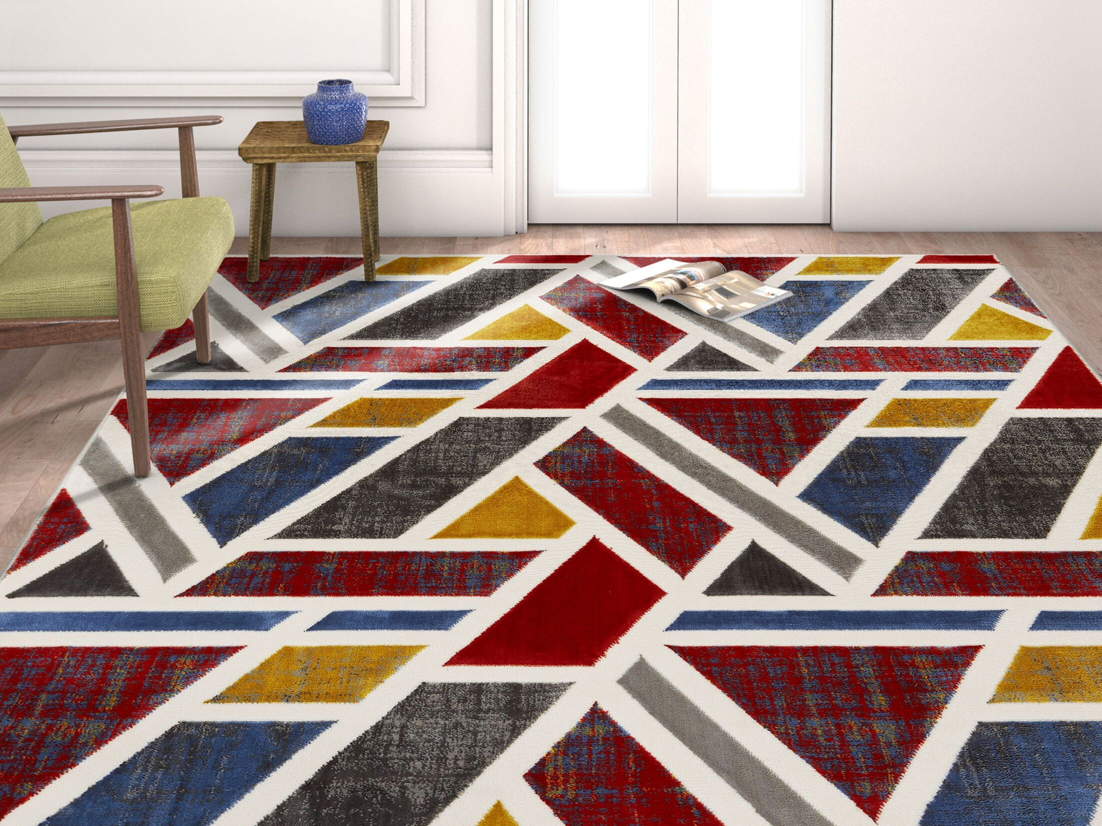 Vicini Geometric Triangles Red/Blue Area Rug Rug Size: 7'10