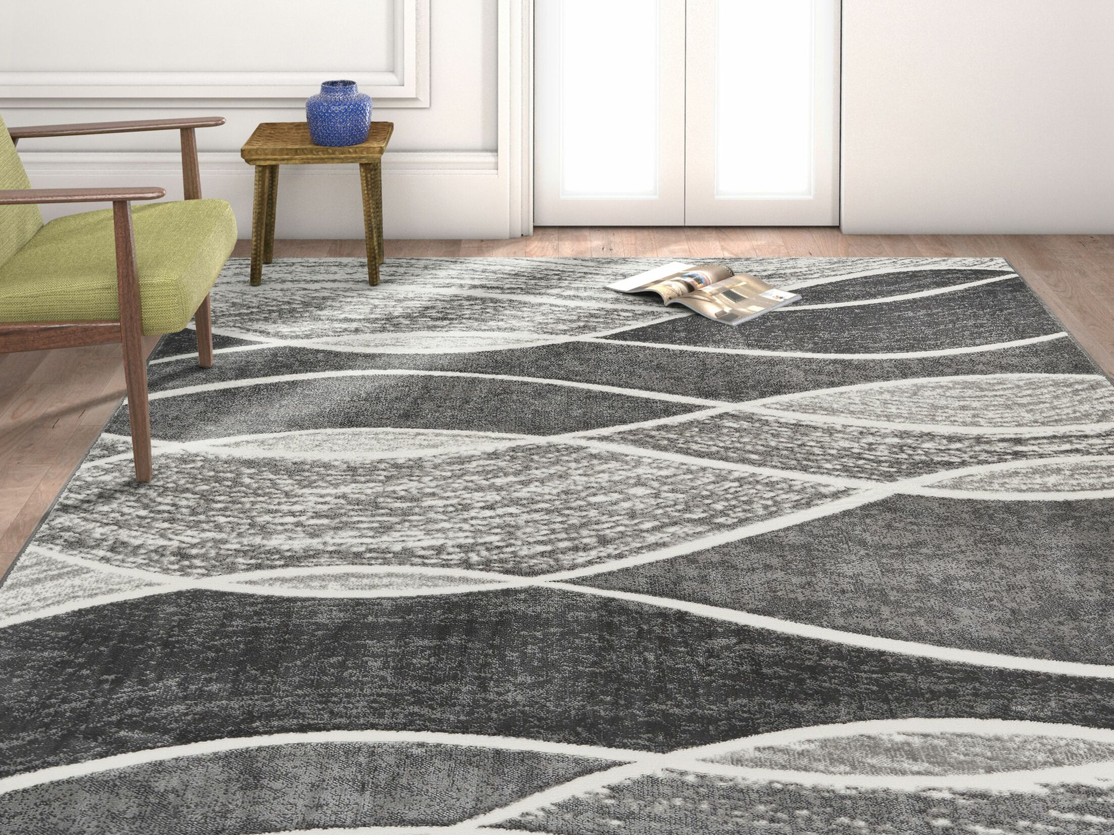 Giardina Abstract Swirls Gray Area Rug Rug Size: Rectangle 7'10