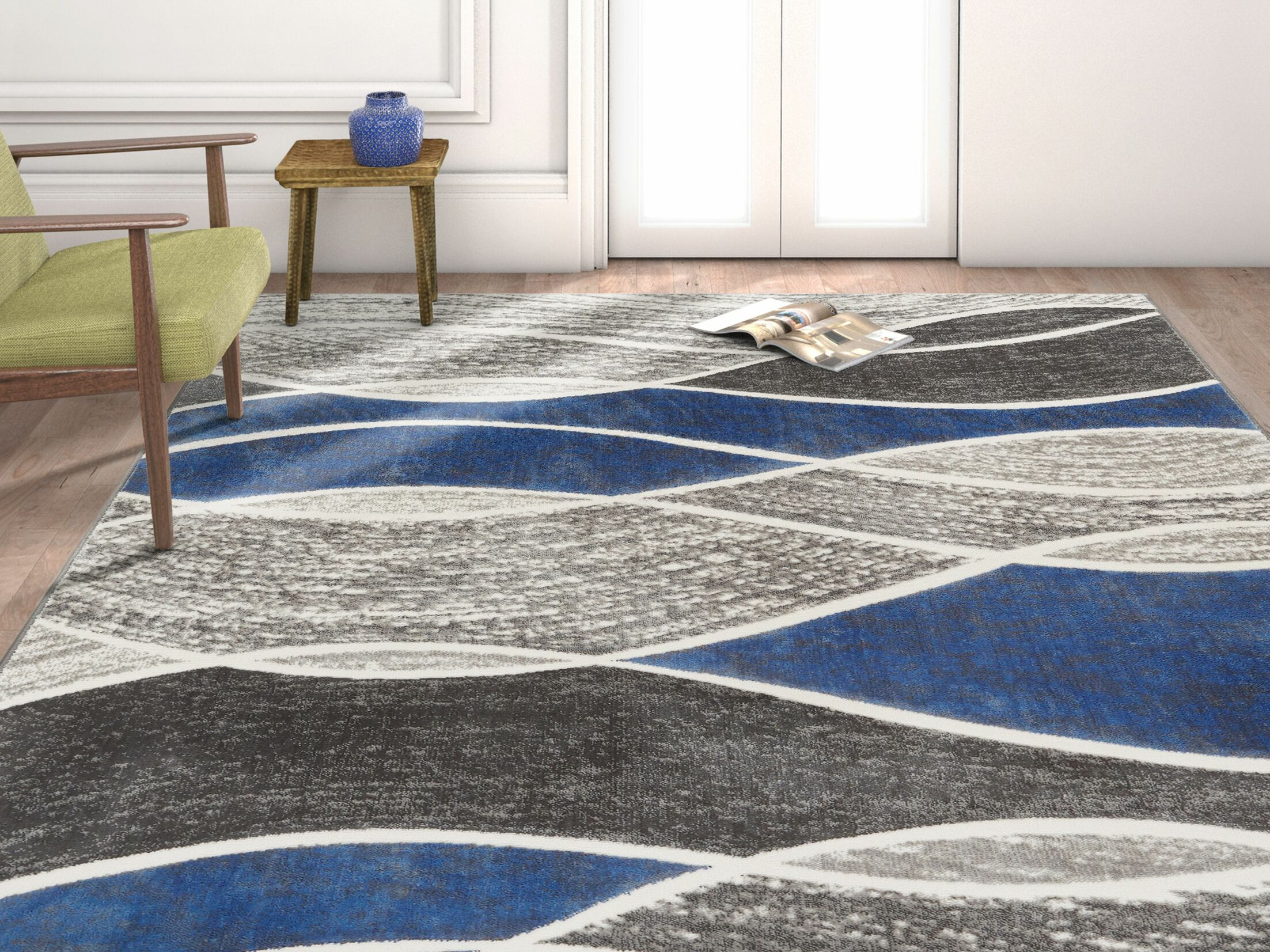 Giardina Abstract Swirls Blue Area Rug Rug Size: Rectangle 7'10