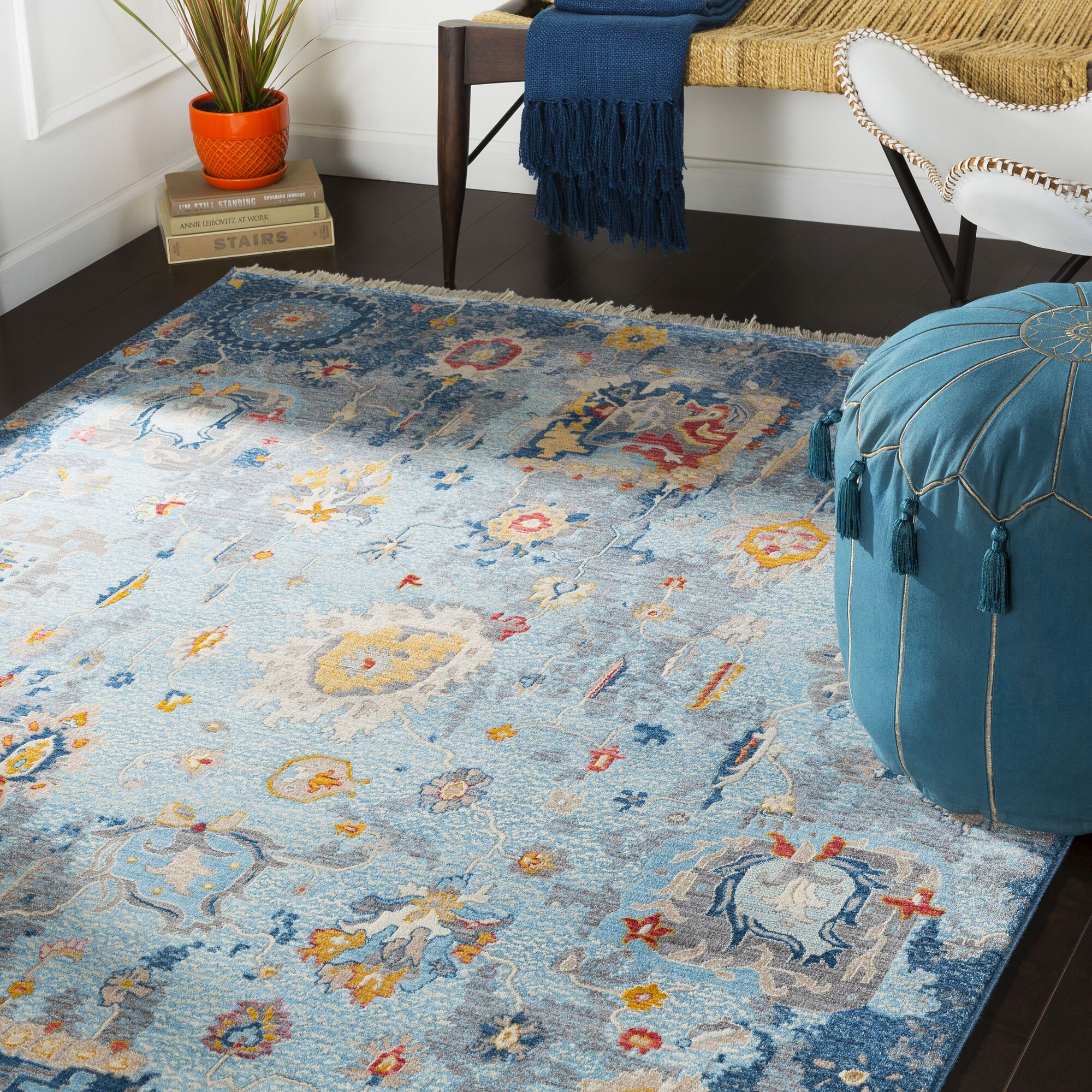 Elvis Distressed Vintage Blue Area Rug Rug Size: Rectangle 3'11